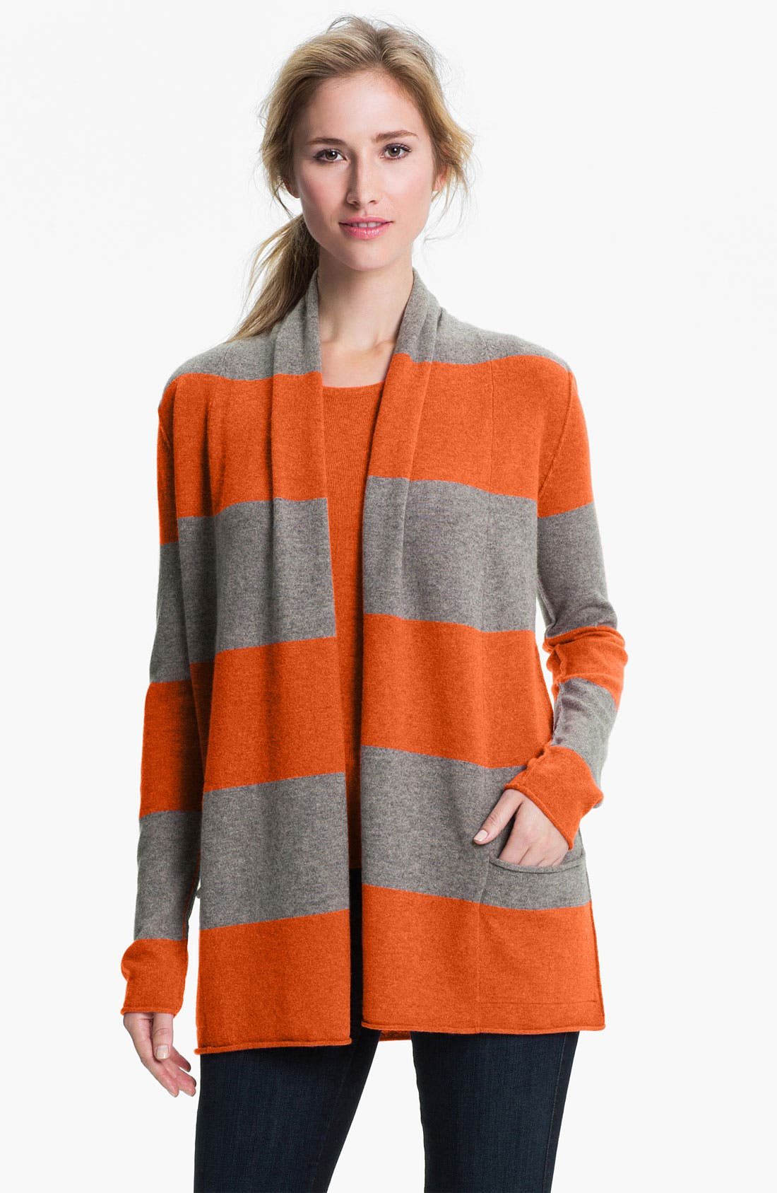 Main Image - Pure Amici Stripe Cashmere Cardigan