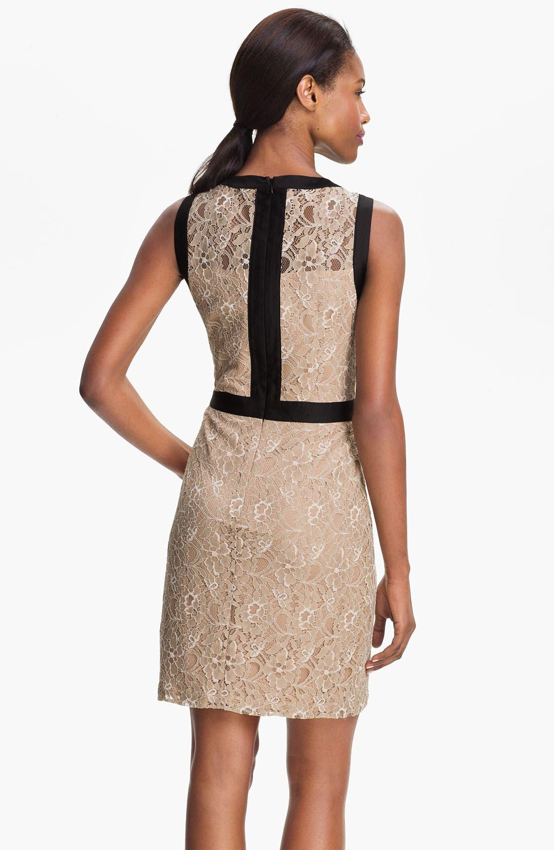 Alternate Image 2  - Max & Cleo Satin Trim Lace Sheath Dress