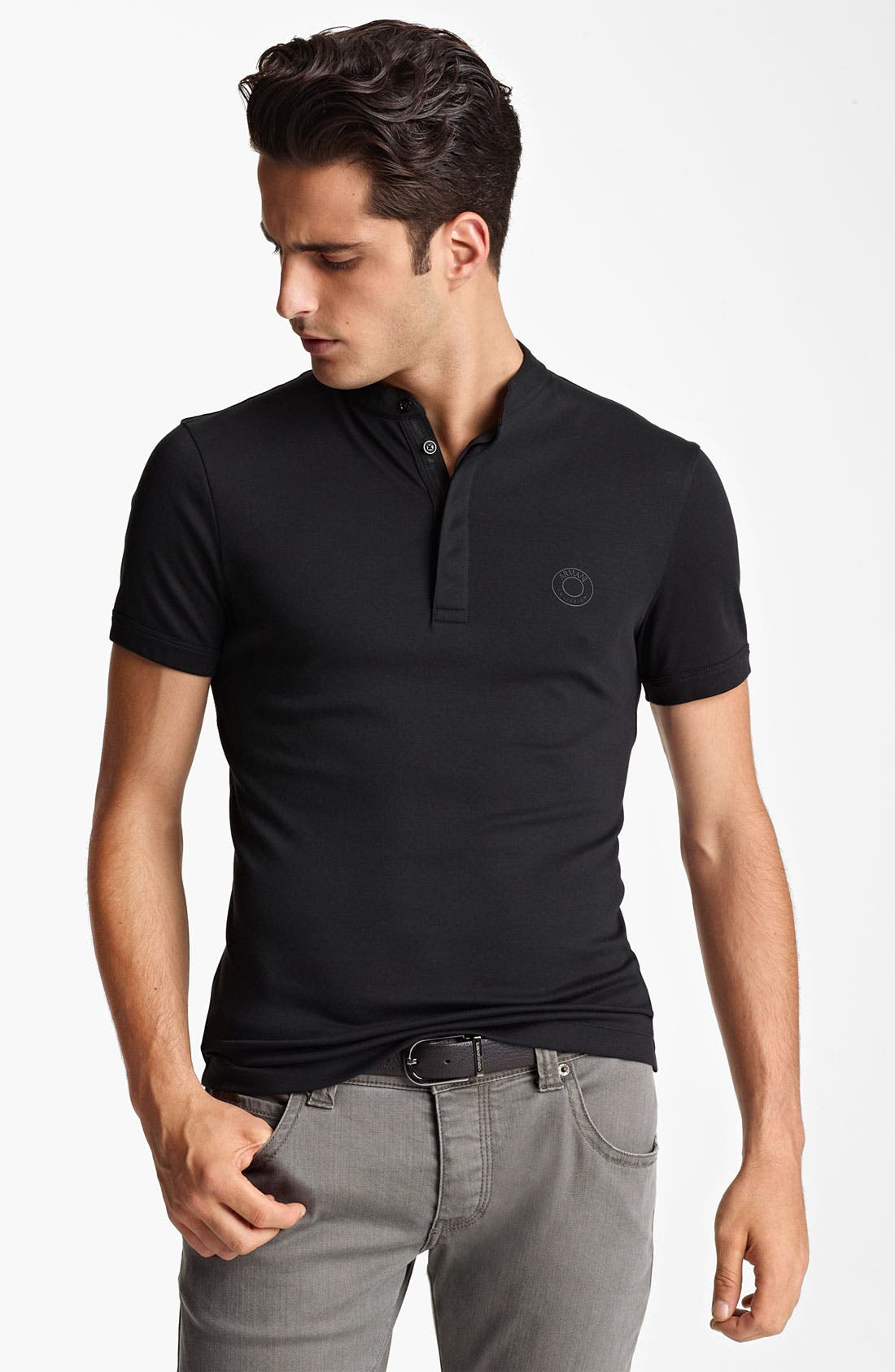 Alternate Image 1 Selected - Armani Collezioni Short Sleeve Henley