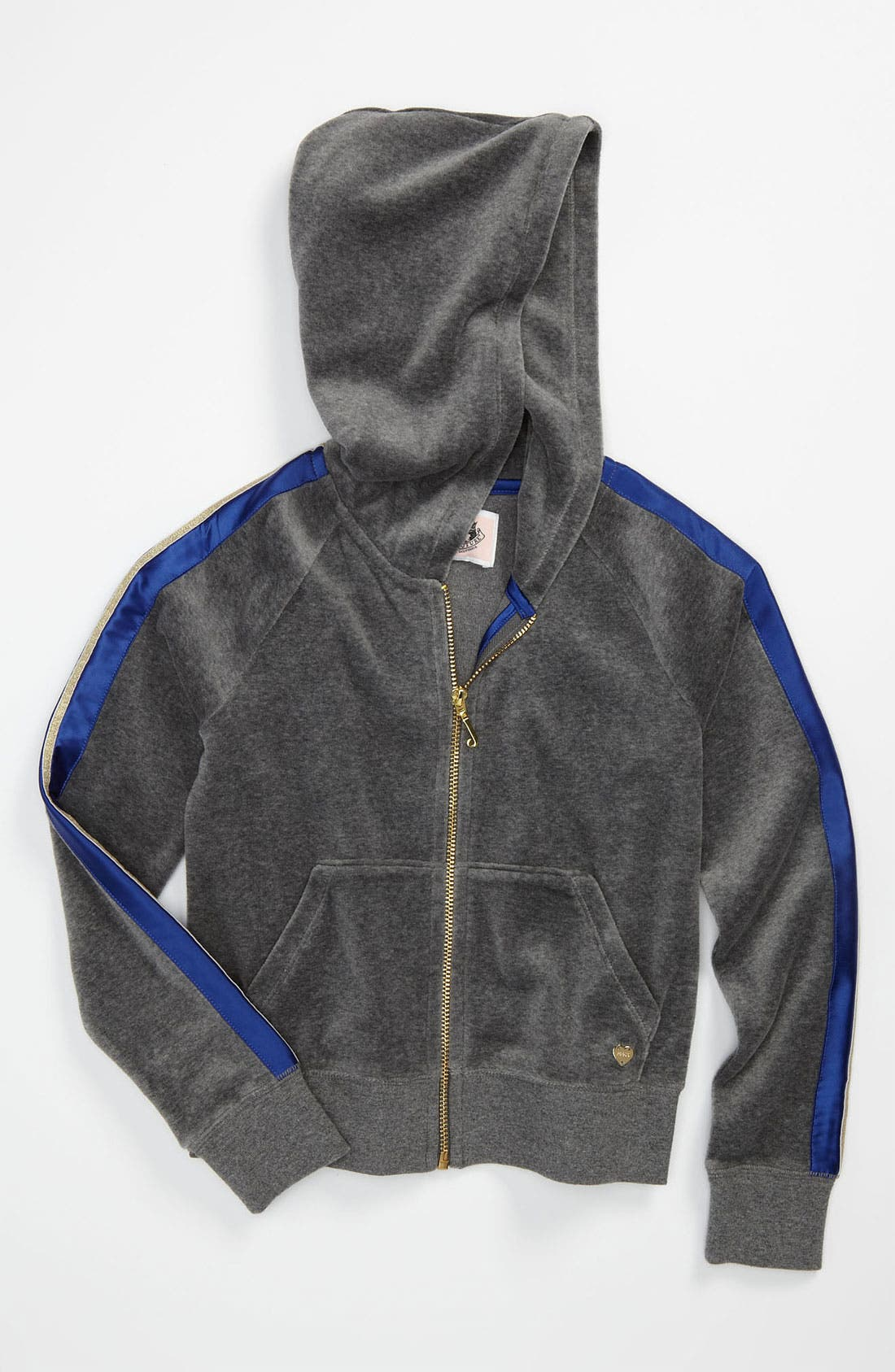 Alternate Image 1 Selected - Juicy Couture Metallic Stripe Hoodie (Little Girls & Big Girls)