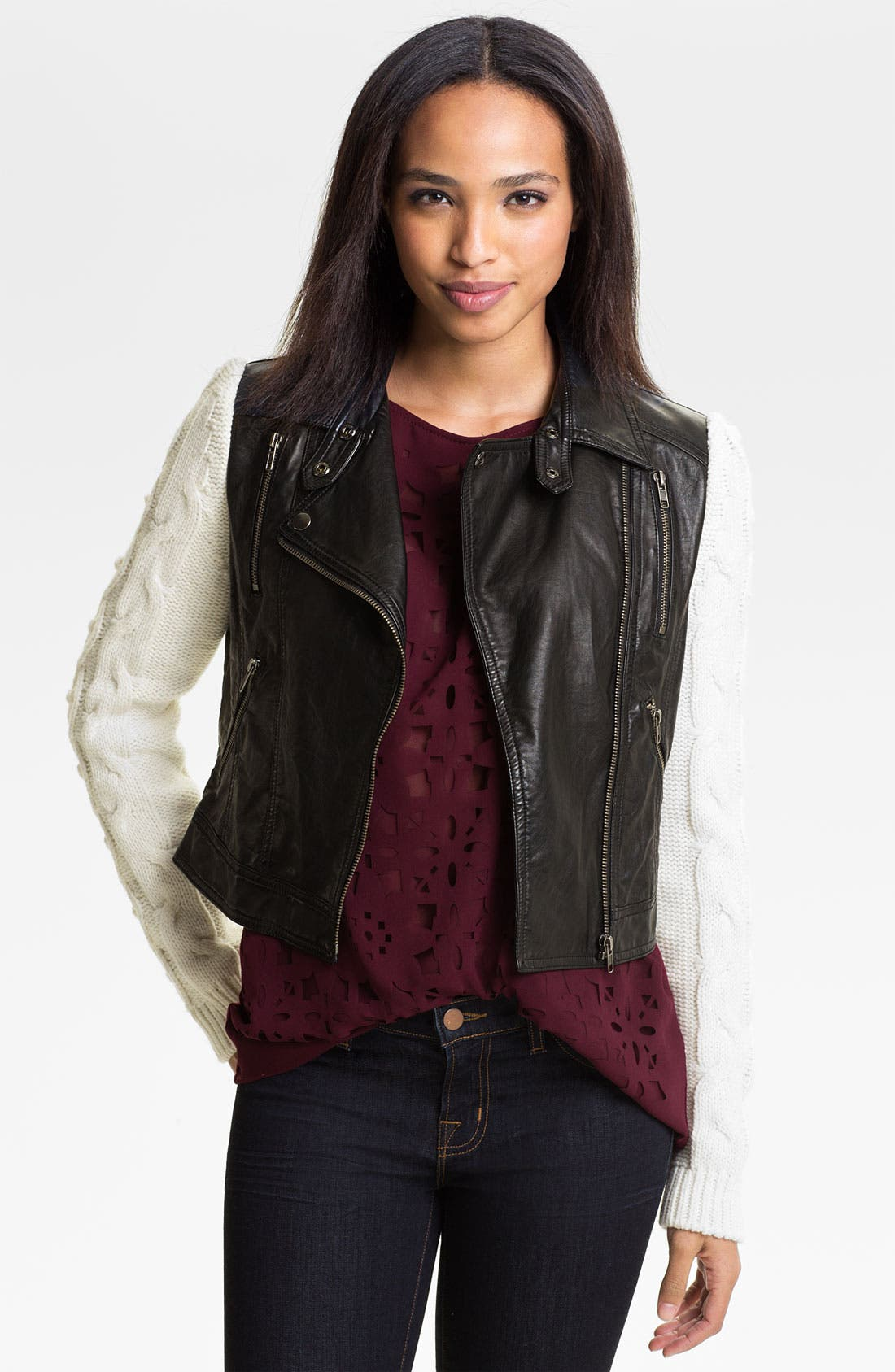 Main Image - Two by Vince Camuto Faux Leather Jacket with Knit Sleeves