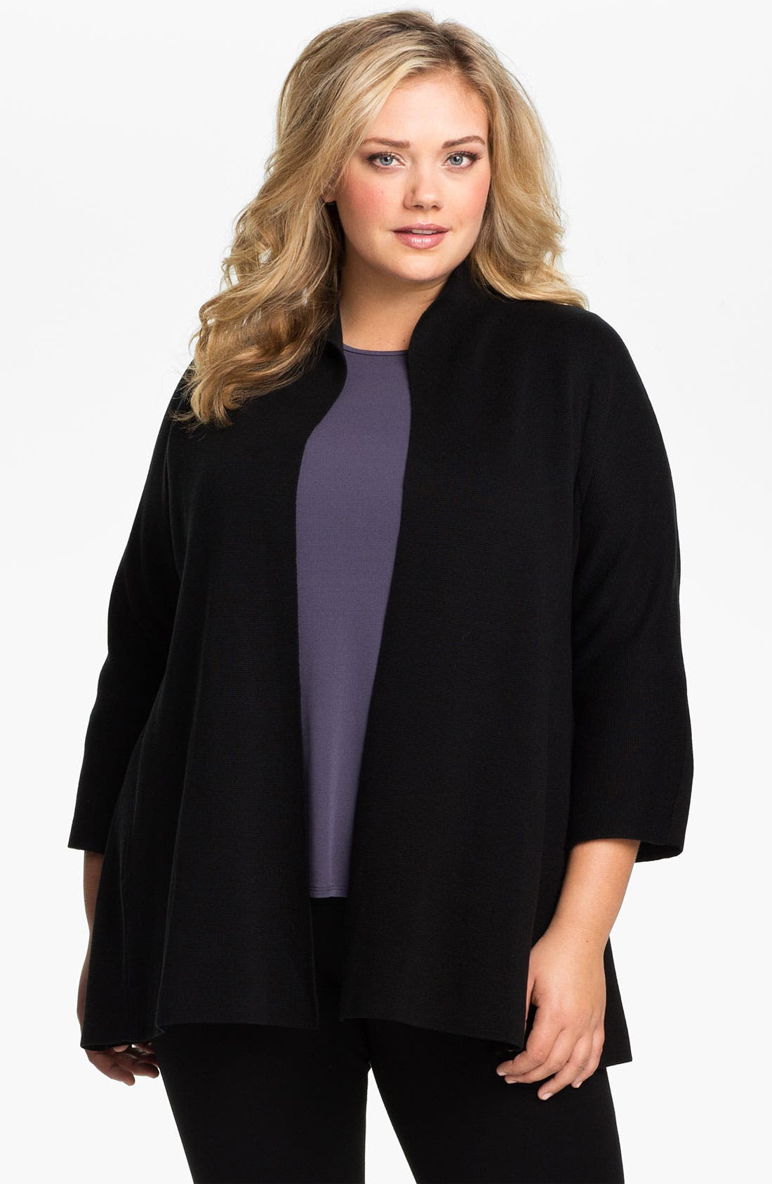 Main Image - Eileen Fisher Silk Blend Knit Jacket (Plus)