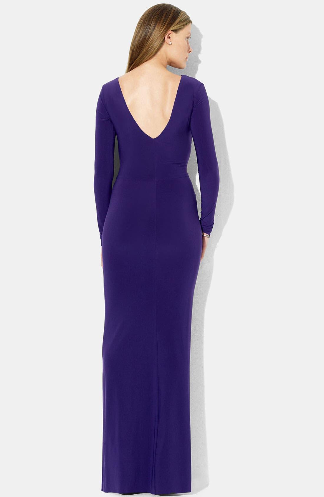 Alternate Image 2  - Lauren Ralph Lauren Low Back Jersey Gown