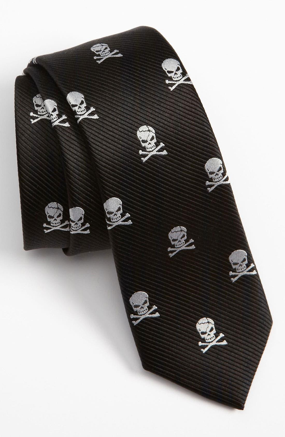 Main Image - The Tie Bar Silk Skull and Crossbones Tie (Online Only)