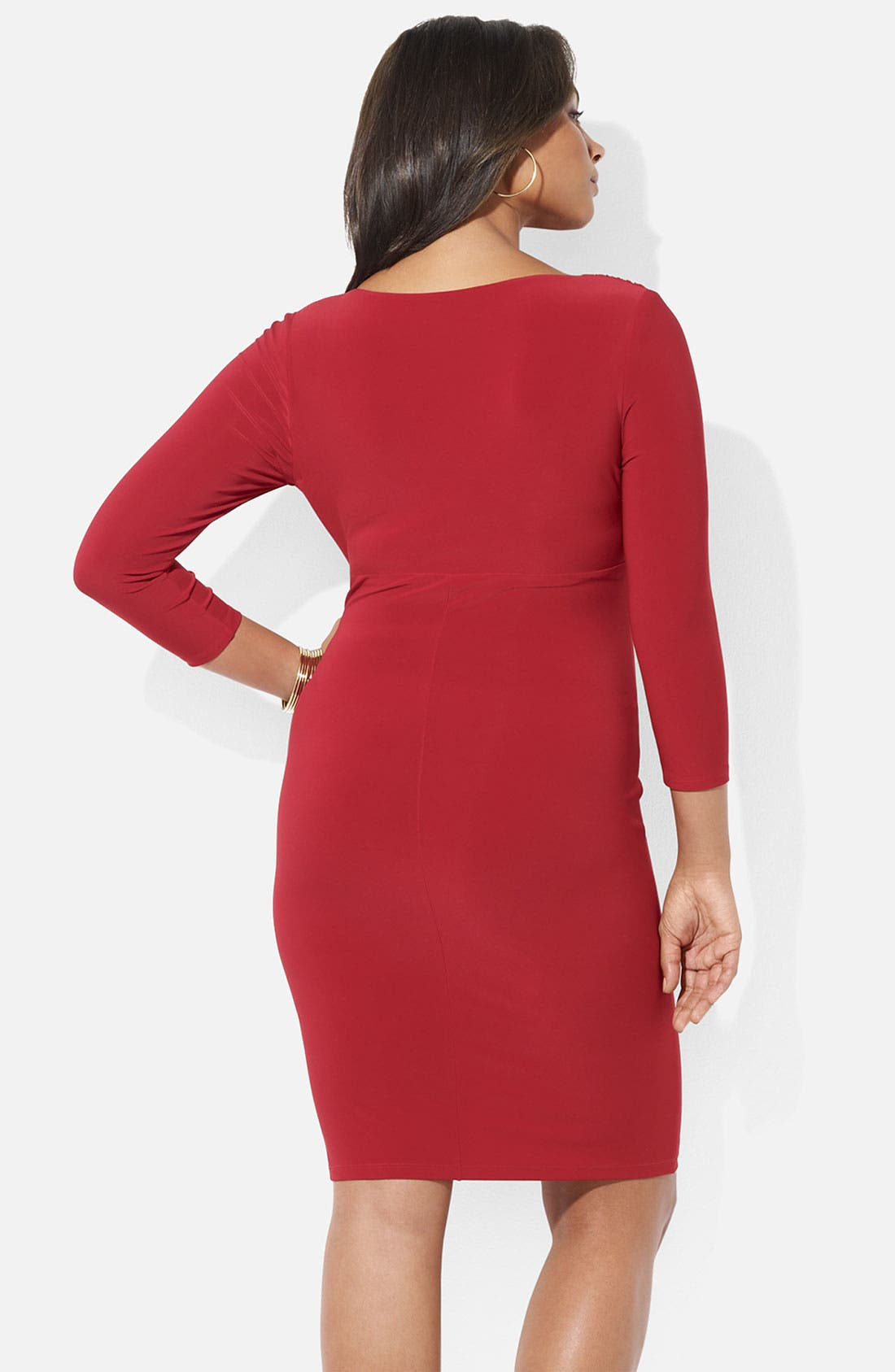 Alternate Image 2  - Lauren Ralph Lauren Surplice Matte Jersey Sheath Dress (Plus)