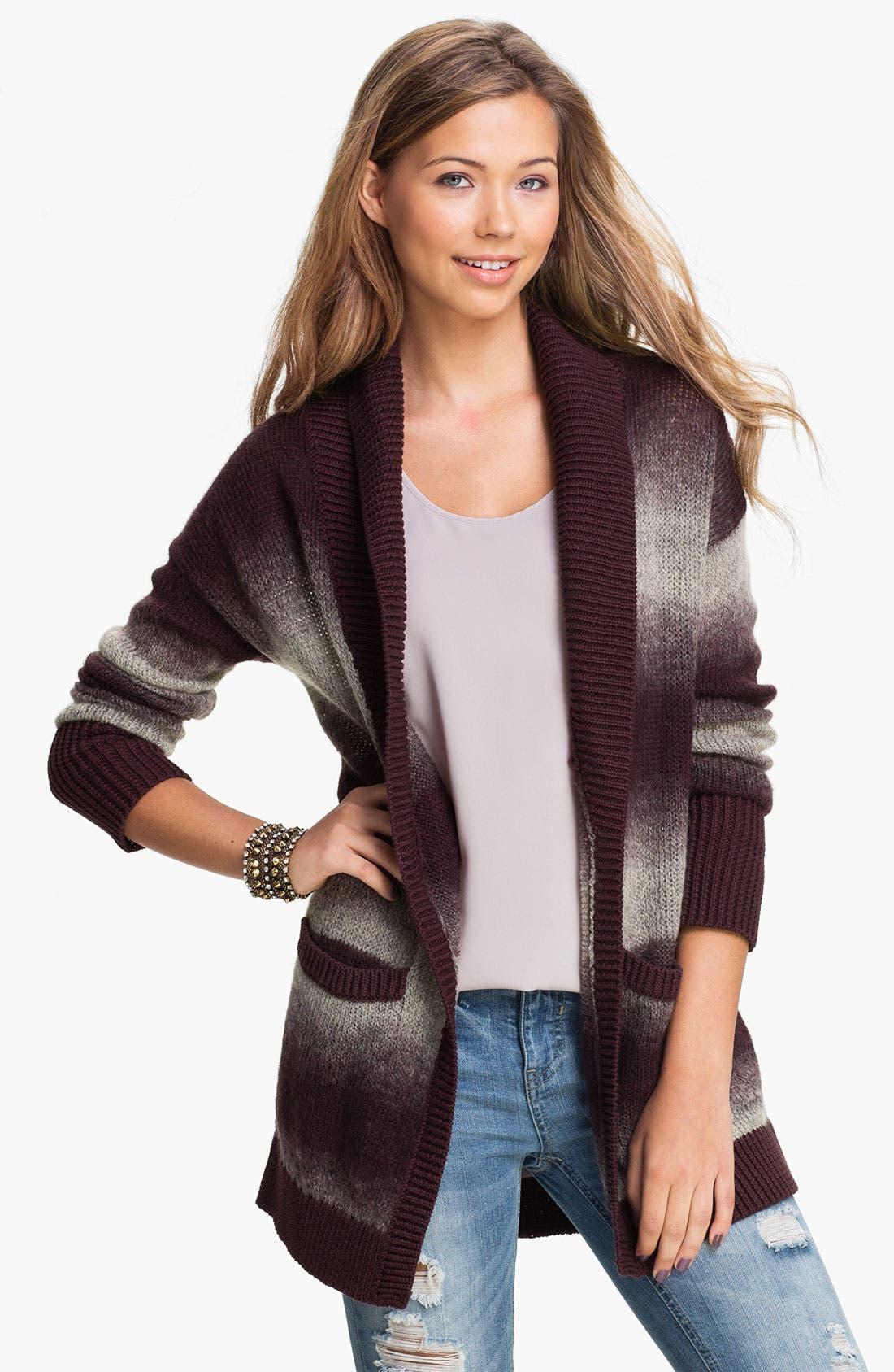 Main Image - Rubbish® Ombré Stripe Cardigan (Juniors)