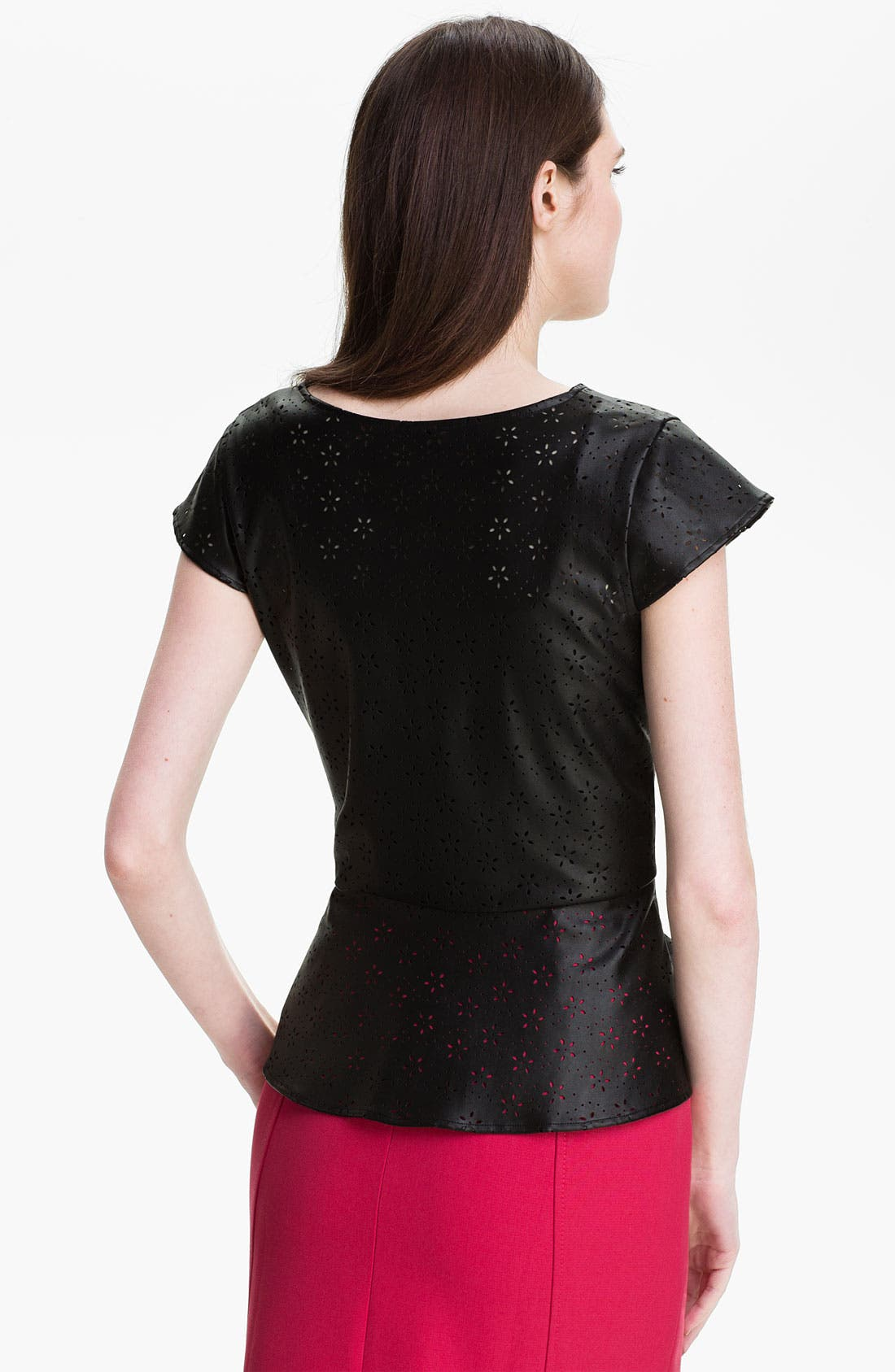 Alternate Image 2  - Max & Mia Perforated Faux Leather Top