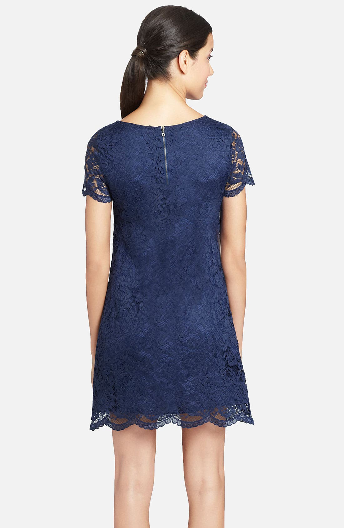 Alternate Image 2  - Cynthia Steffe 'Reese' Illusion Sleeve Lace Shift Dress
