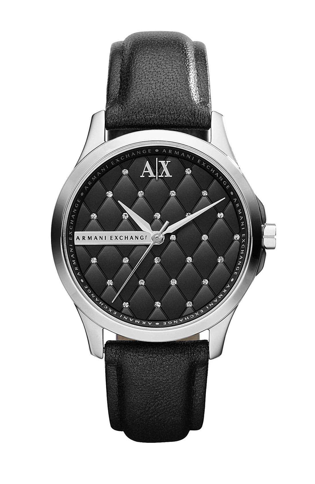 Main Image - AX Armani Exchange Crystal Quilted Dial Watch, 36mm (Online Only)