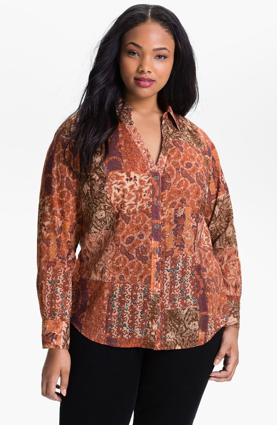 Alternate Image 1 Selected - Lucky Brand 'Joan Patchwork' Blouse (Plus)