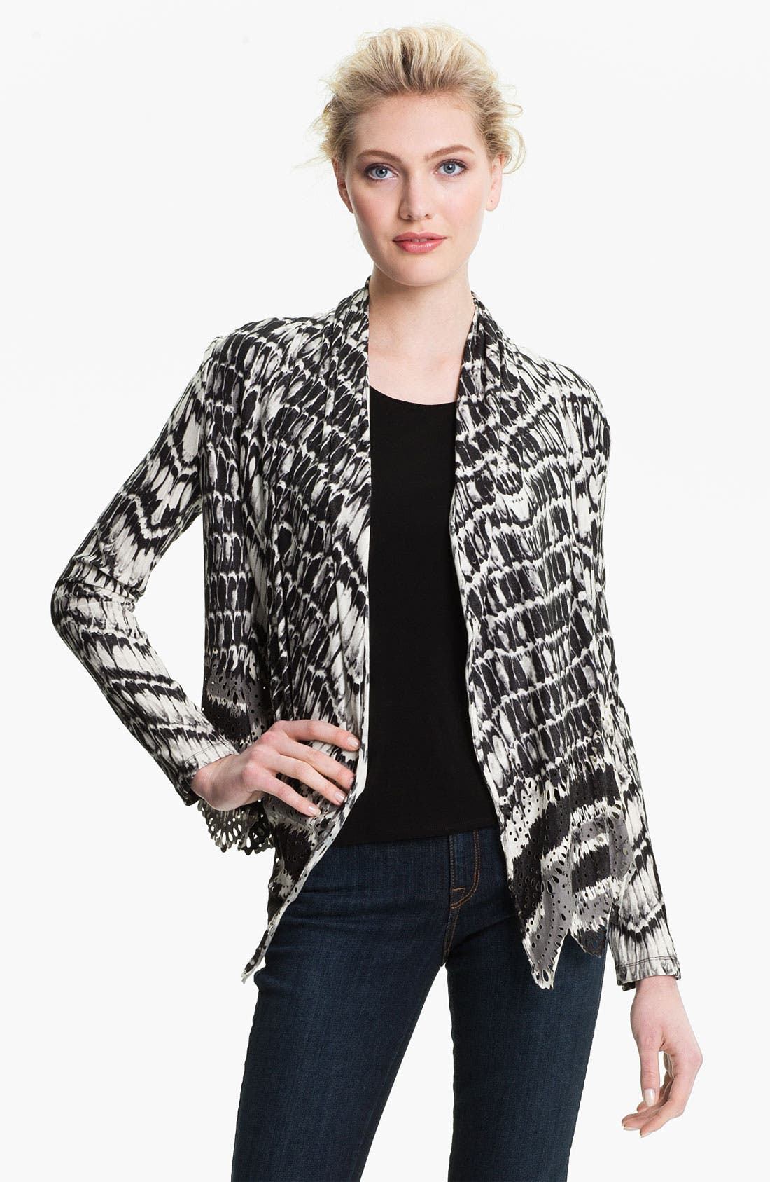 Alternate Image 1 Selected - Alberto Makali Perforated Print Cardigan