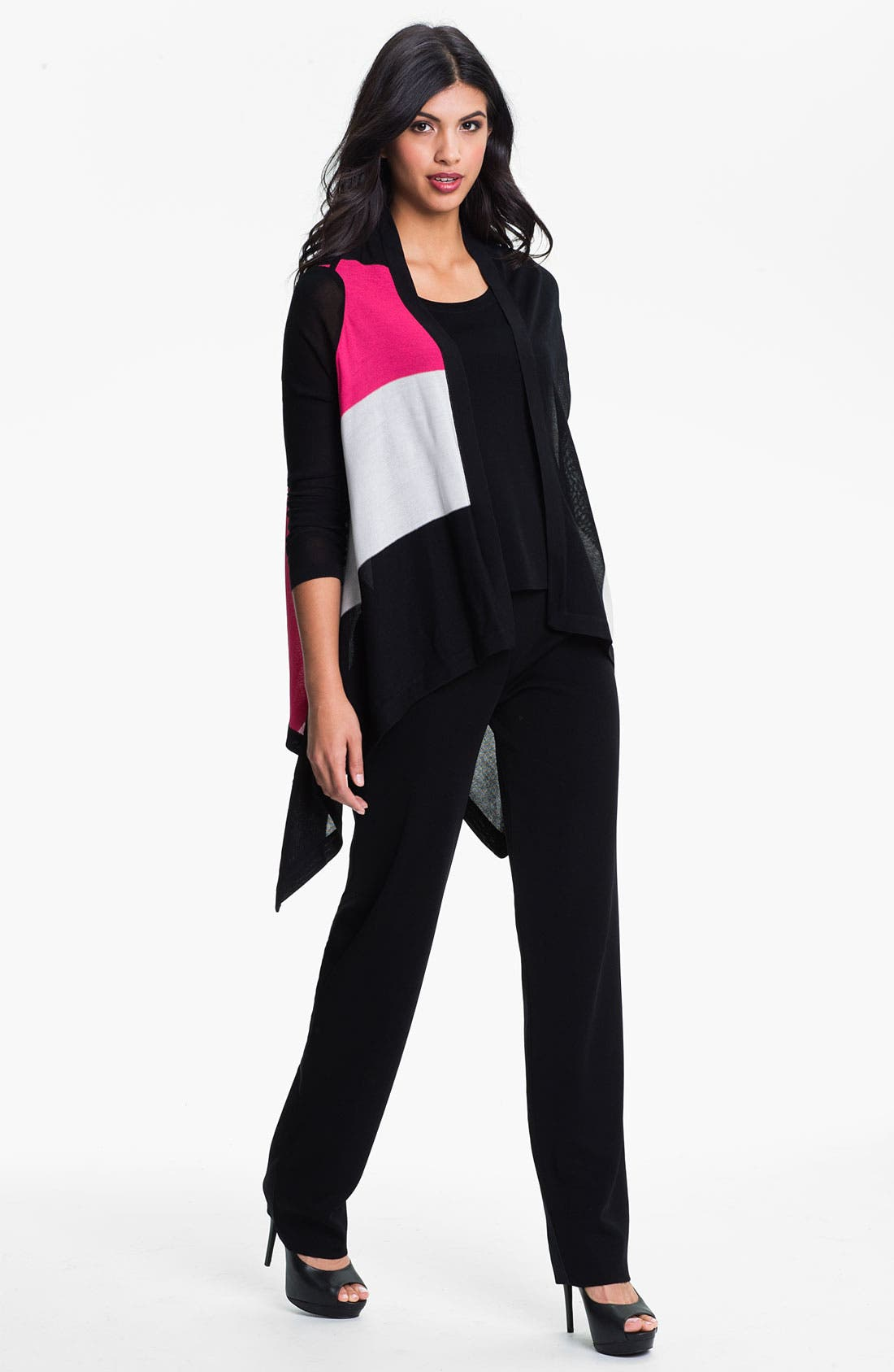 Alternate Image 4  - Exclusively Misook Open Front Colorblock Cardigan
