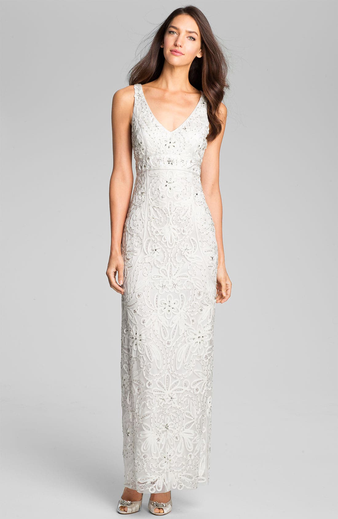 Main Image - Sue Wong V-Neck Embroidered Column Gown