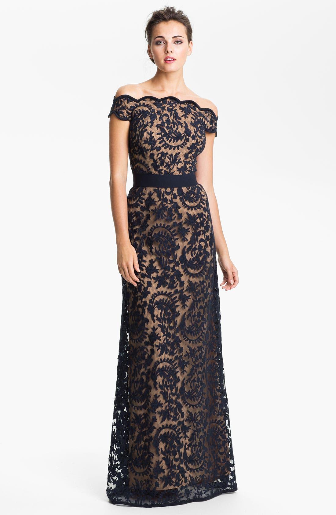 Main Image - Tadashi Shoji Lace Overlay Off Shoulder Gown