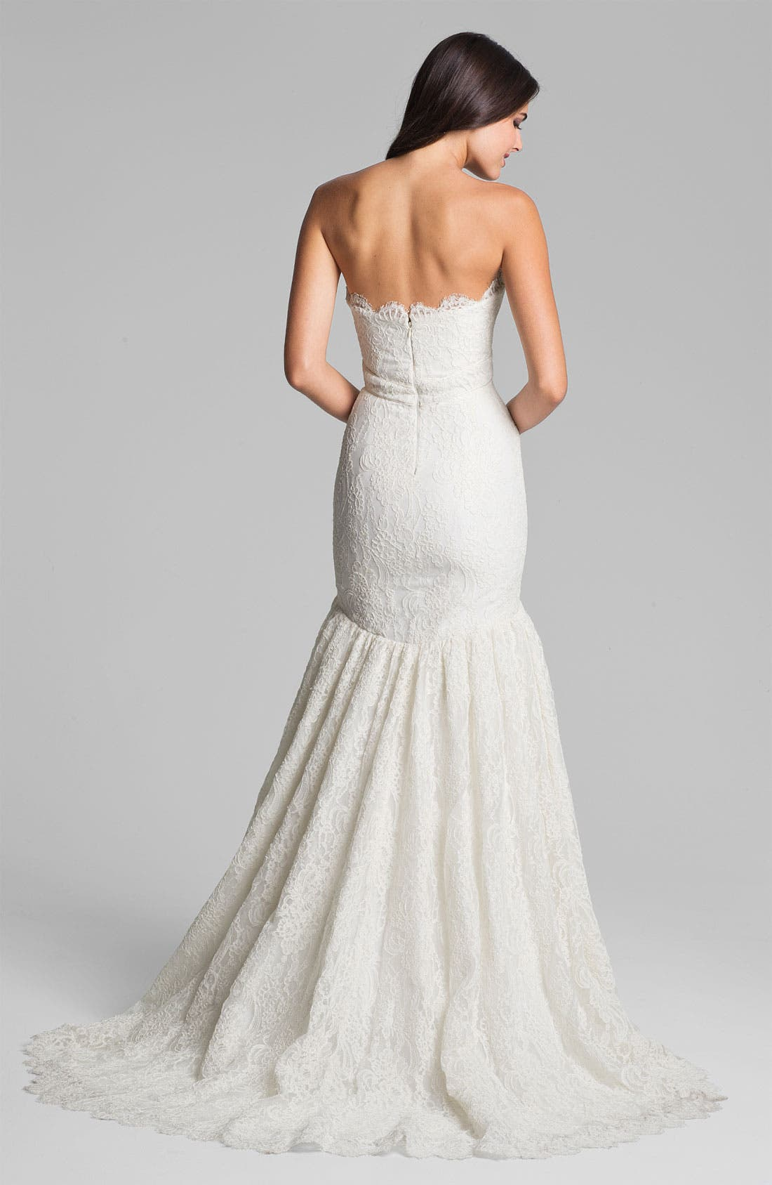 Alternate Image 2  - Theia Strapless Embroidered Lace Trumpet Gown