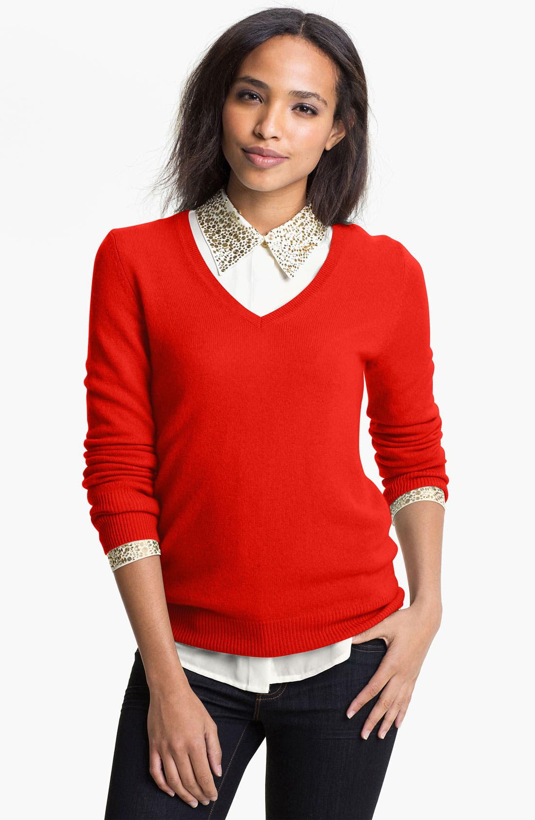 Alternate Image 1 Selected - Halogen® V-Neck Cashmere Sweater