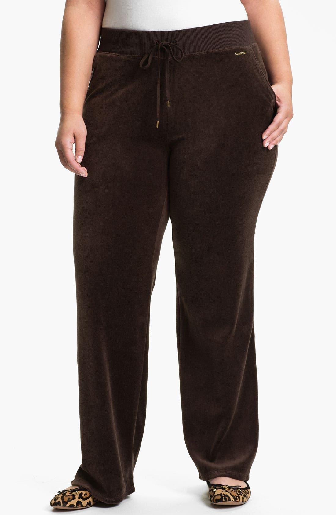 Alternate Image 1 Selected - MICHAEL Michael Kors Velour Pants (Plus)