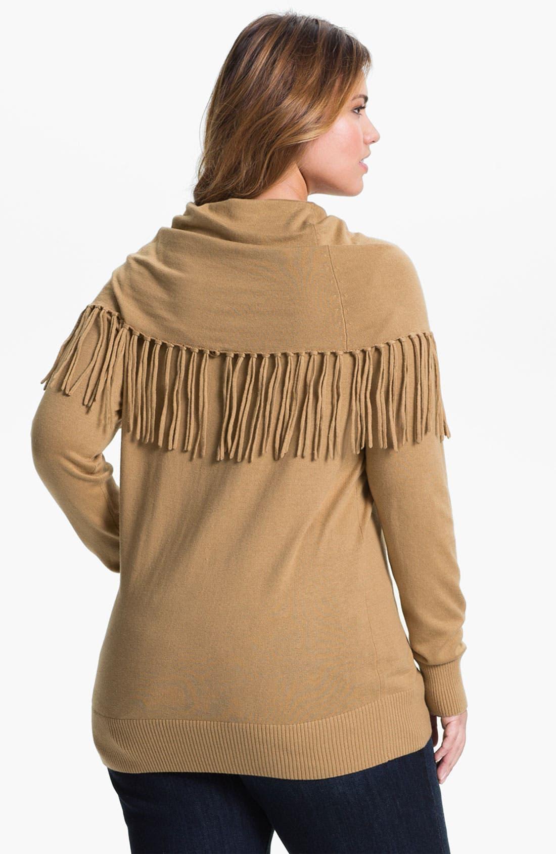 Alternate Image 2  - MICHAEL Michael Kors Fringed Cowl Sweater (Plus)