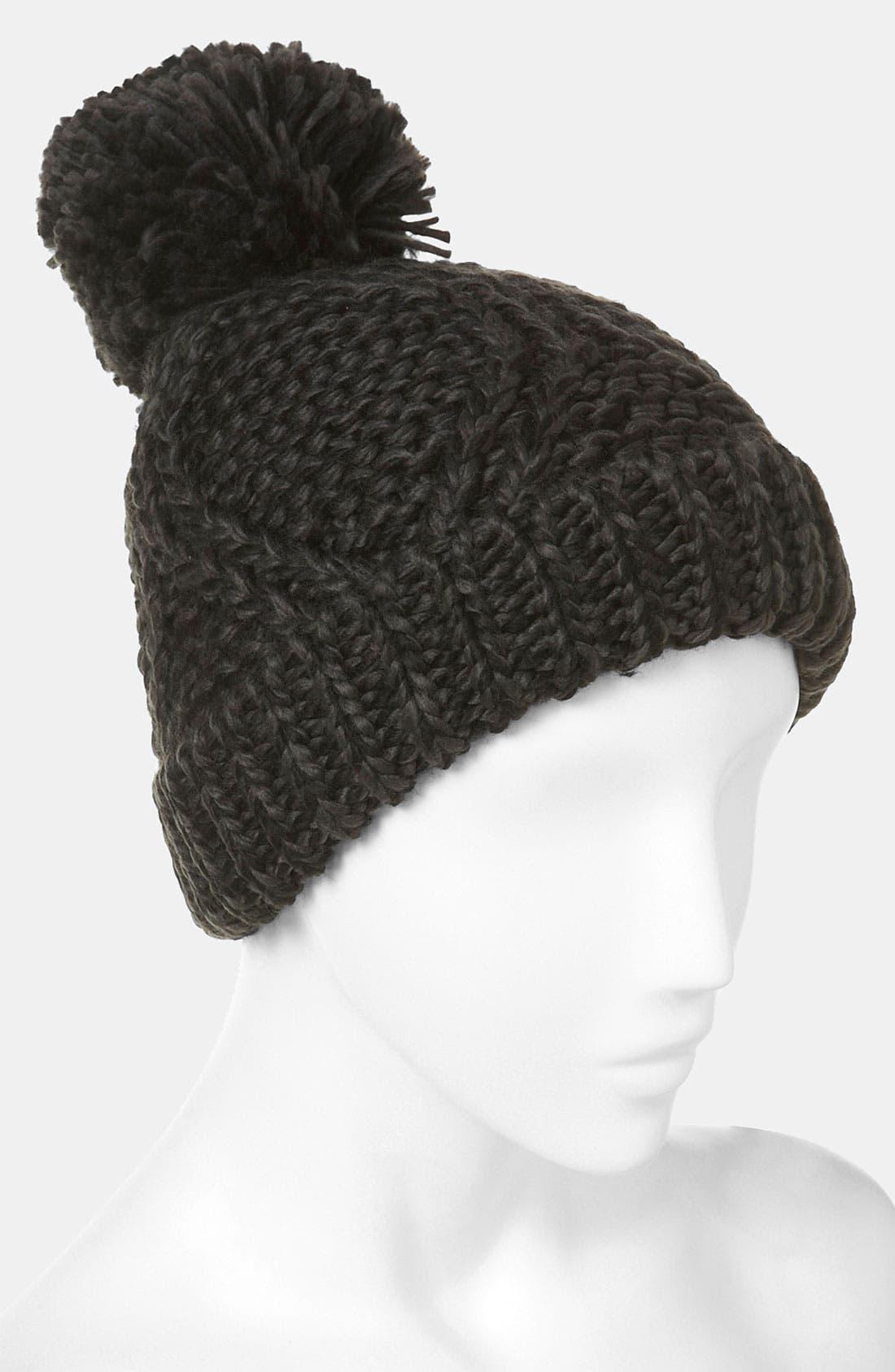 Alternate Image 2  - Topshop Cable Knit Pompom Hat