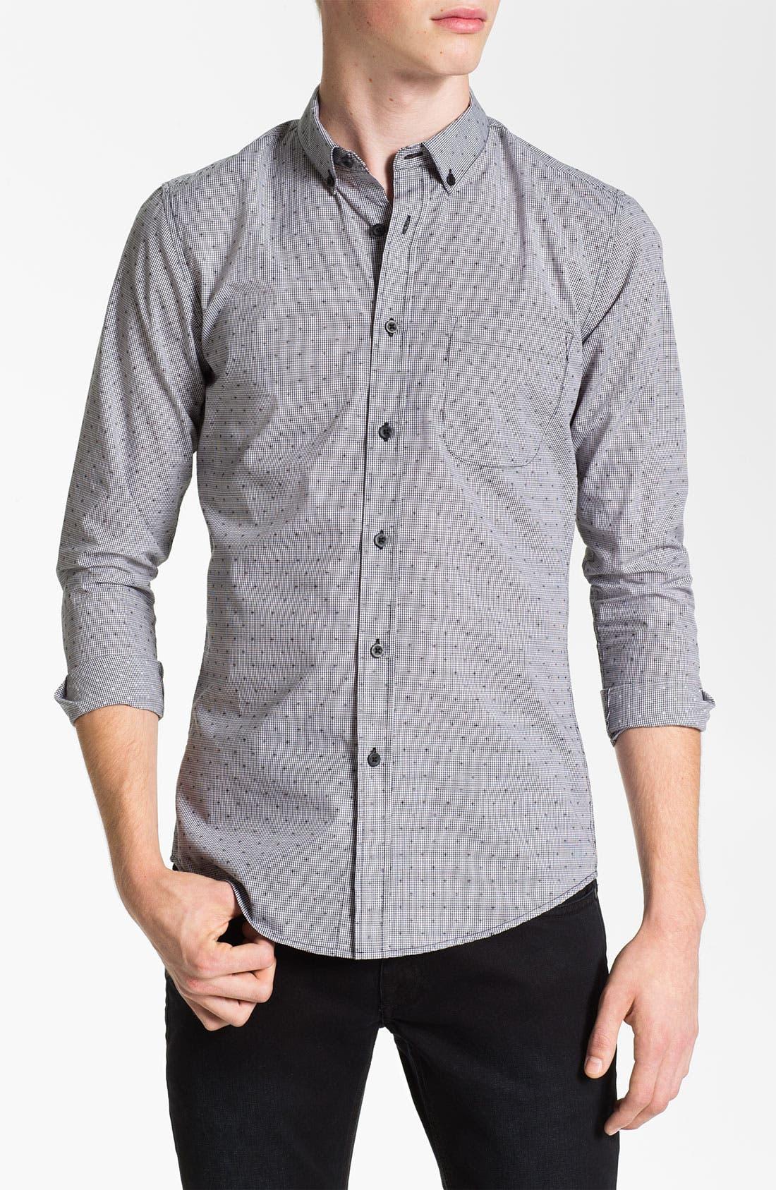 Alternate Image 1 Selected - Topman Extra Trim Grid Check Shirt