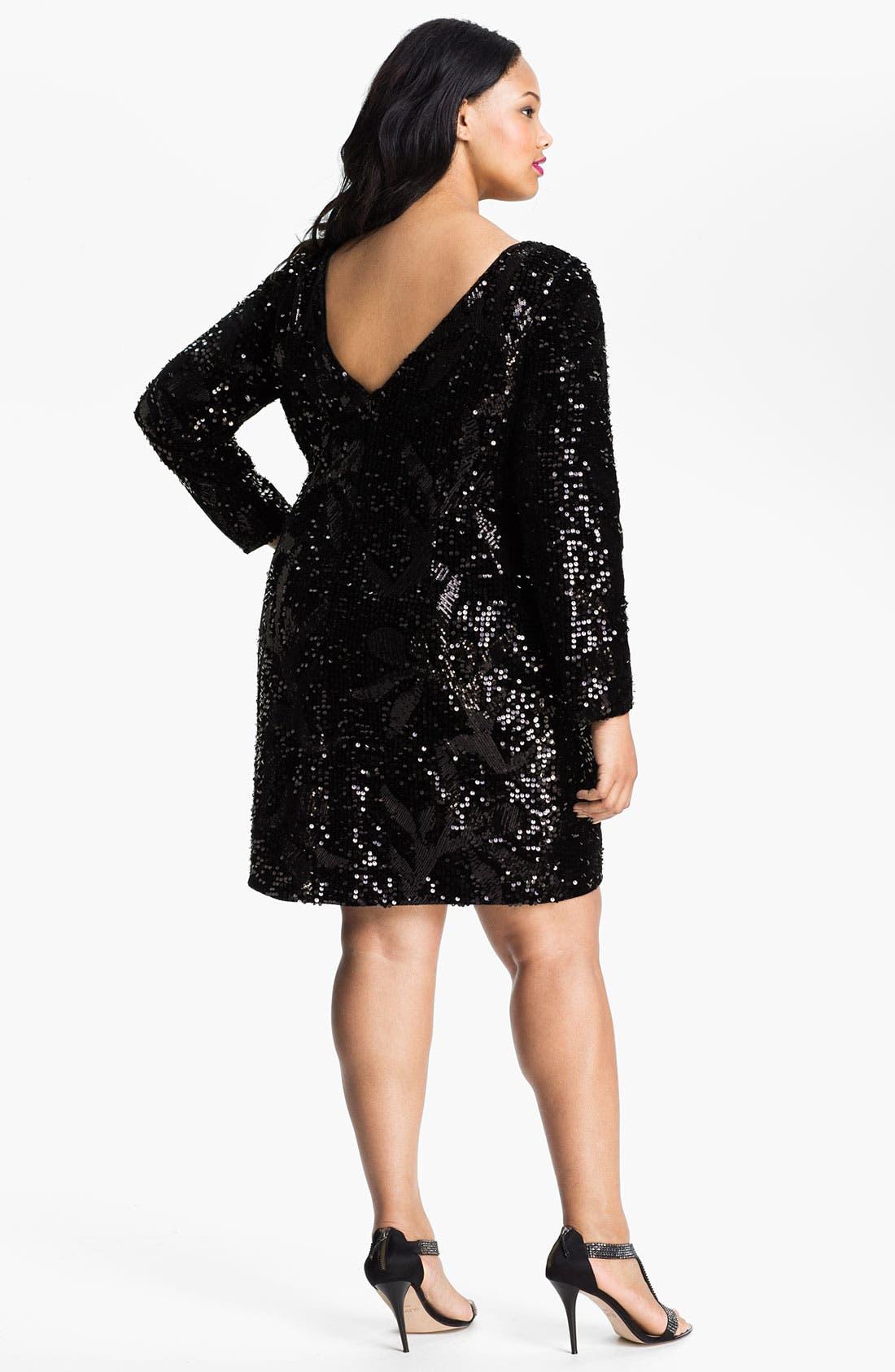 Alternate Image 2  - Aidan Mattox Long Sleeve Sequin Velvet Dress (Plus)