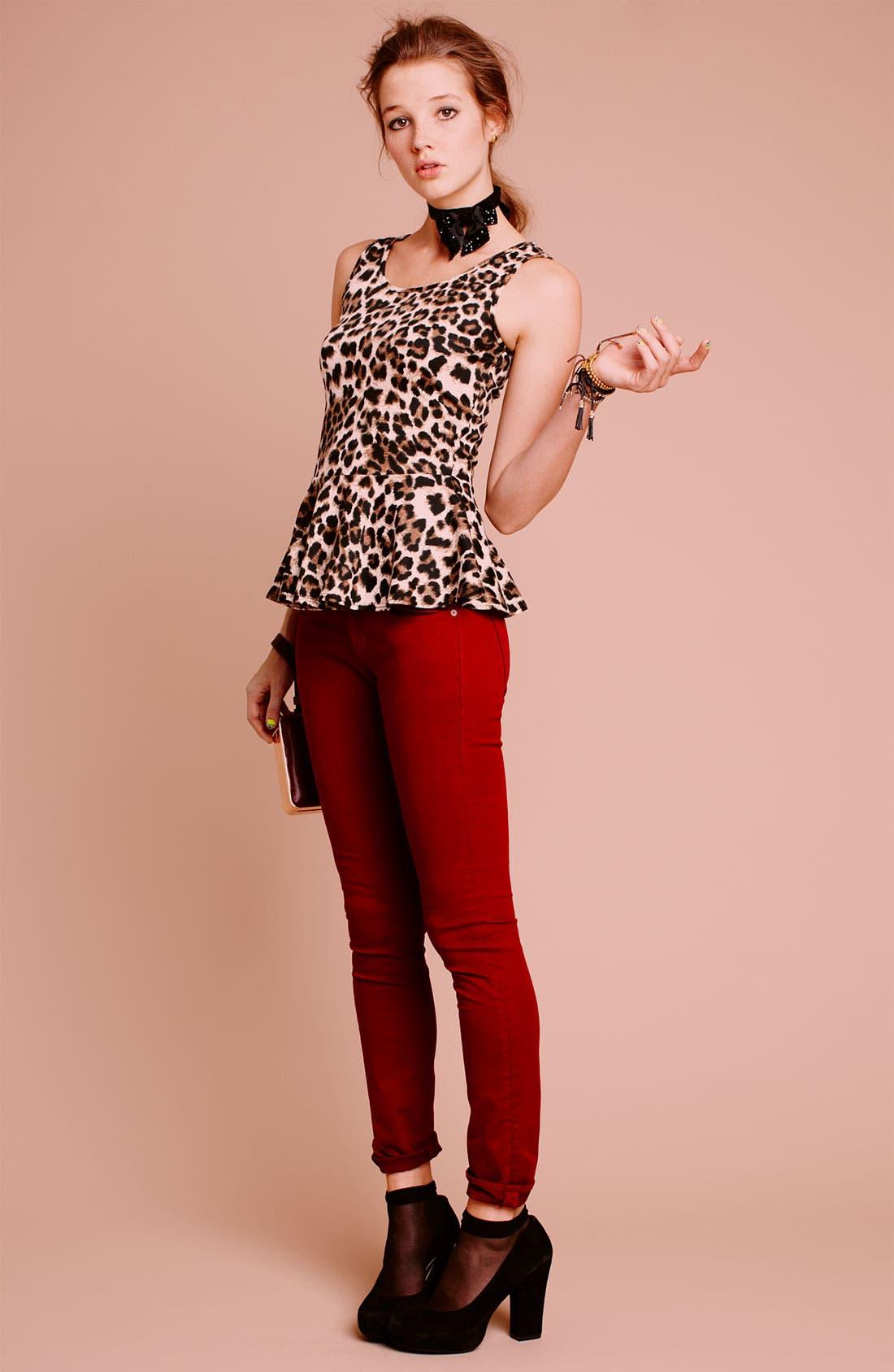 Alternate Image 4  - Articles of Society 'Mya' Skinny Jeans (Scarlet) (Juniors)