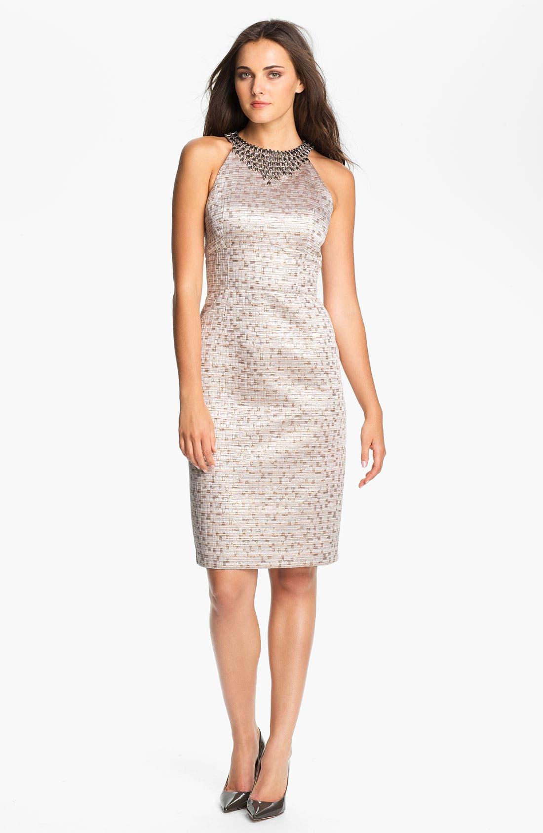 Main Image - Maggy London Jewel Yoke Brocade Sheath Dress