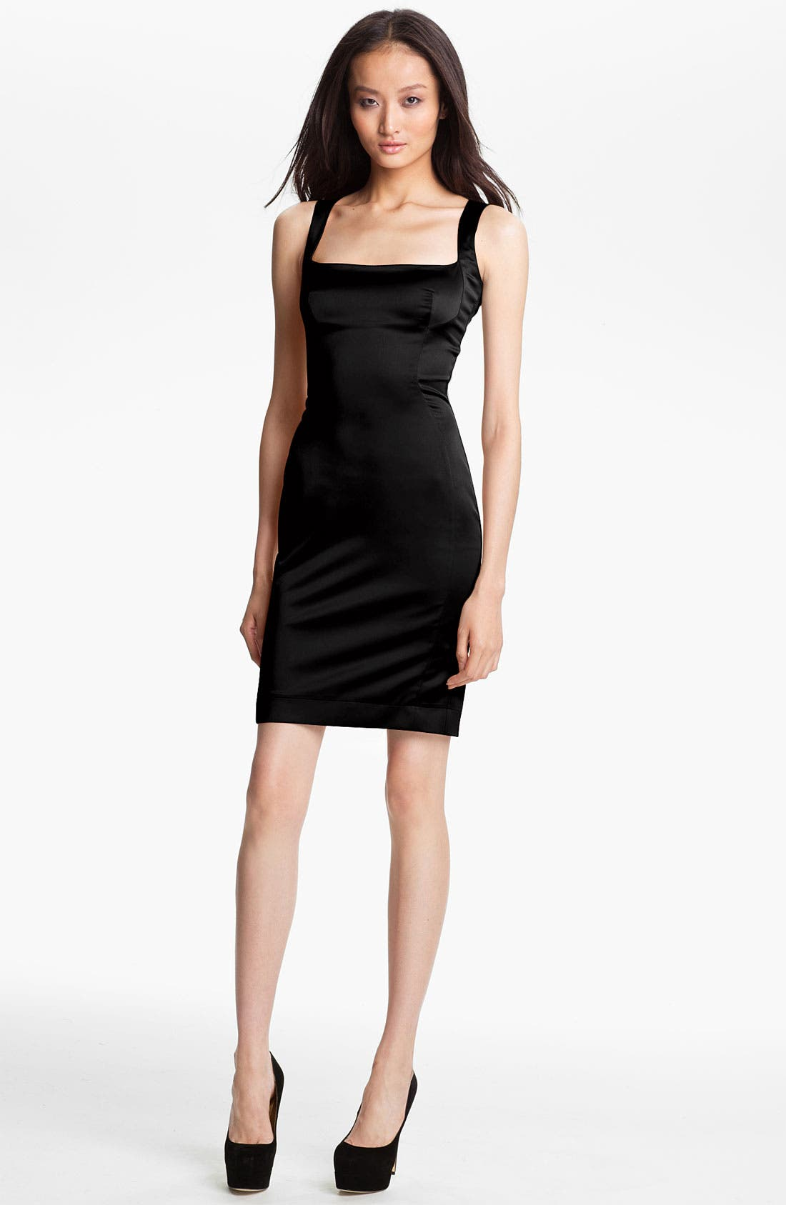 Main Image - Just Cavalli Stretch Satin Sheath Dress