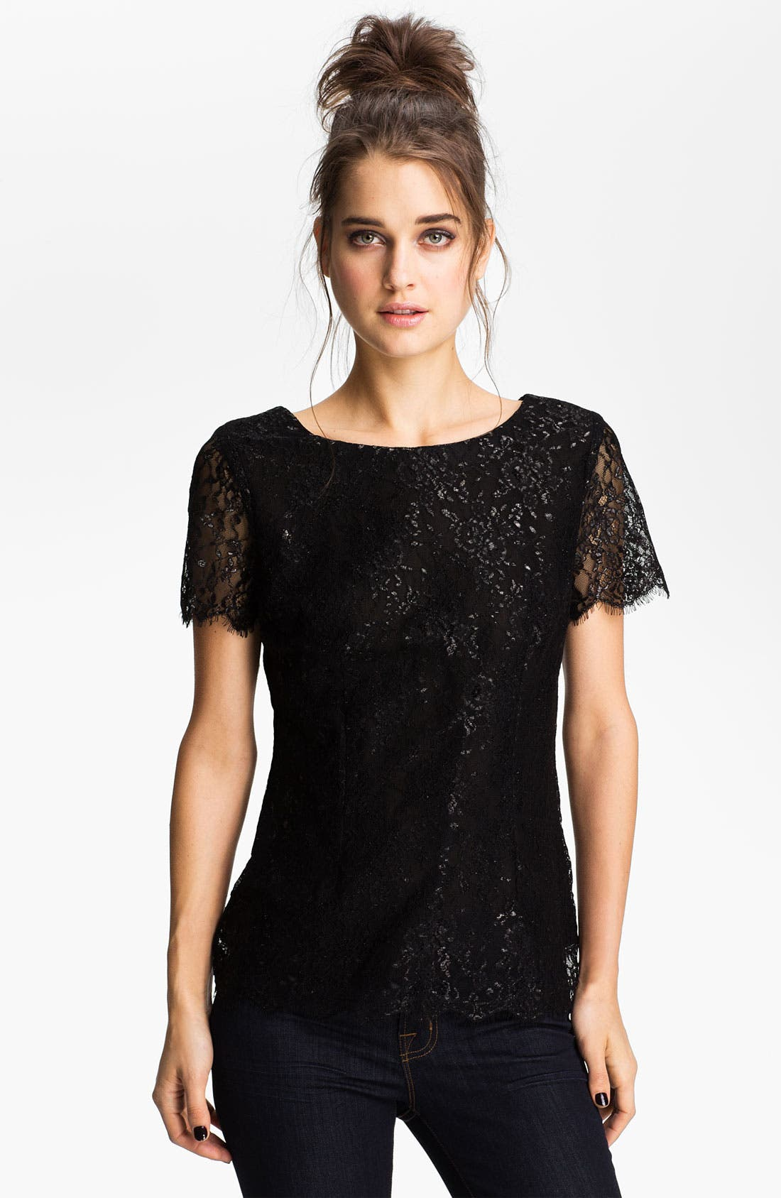 Main Image - Velvet by Graham & Spencer Metallic Lace Top