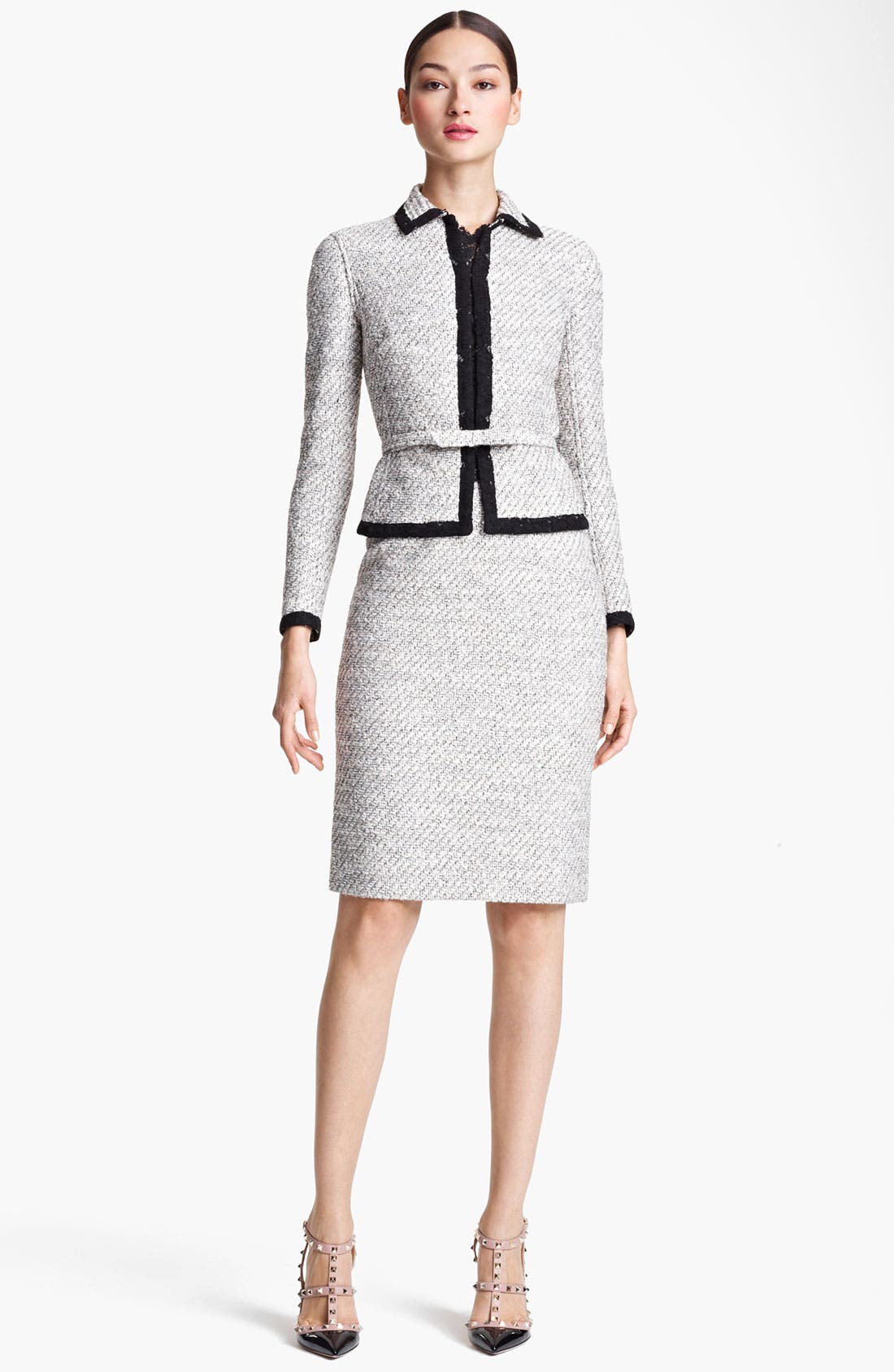 Alternate Image 4  - Valentino Belted Lace & Tweed Sheath Dress
