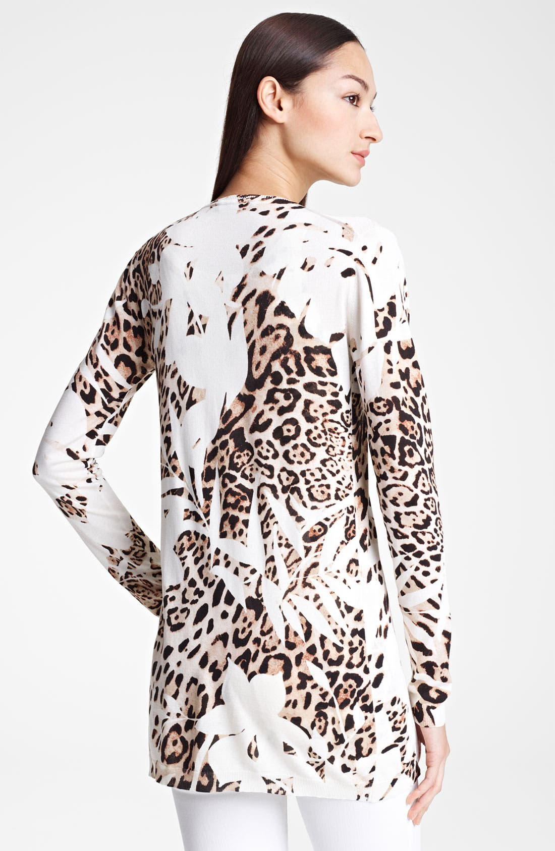 Alternate Image 3  - Blumarine Animal Print Knit Silk Cardigan