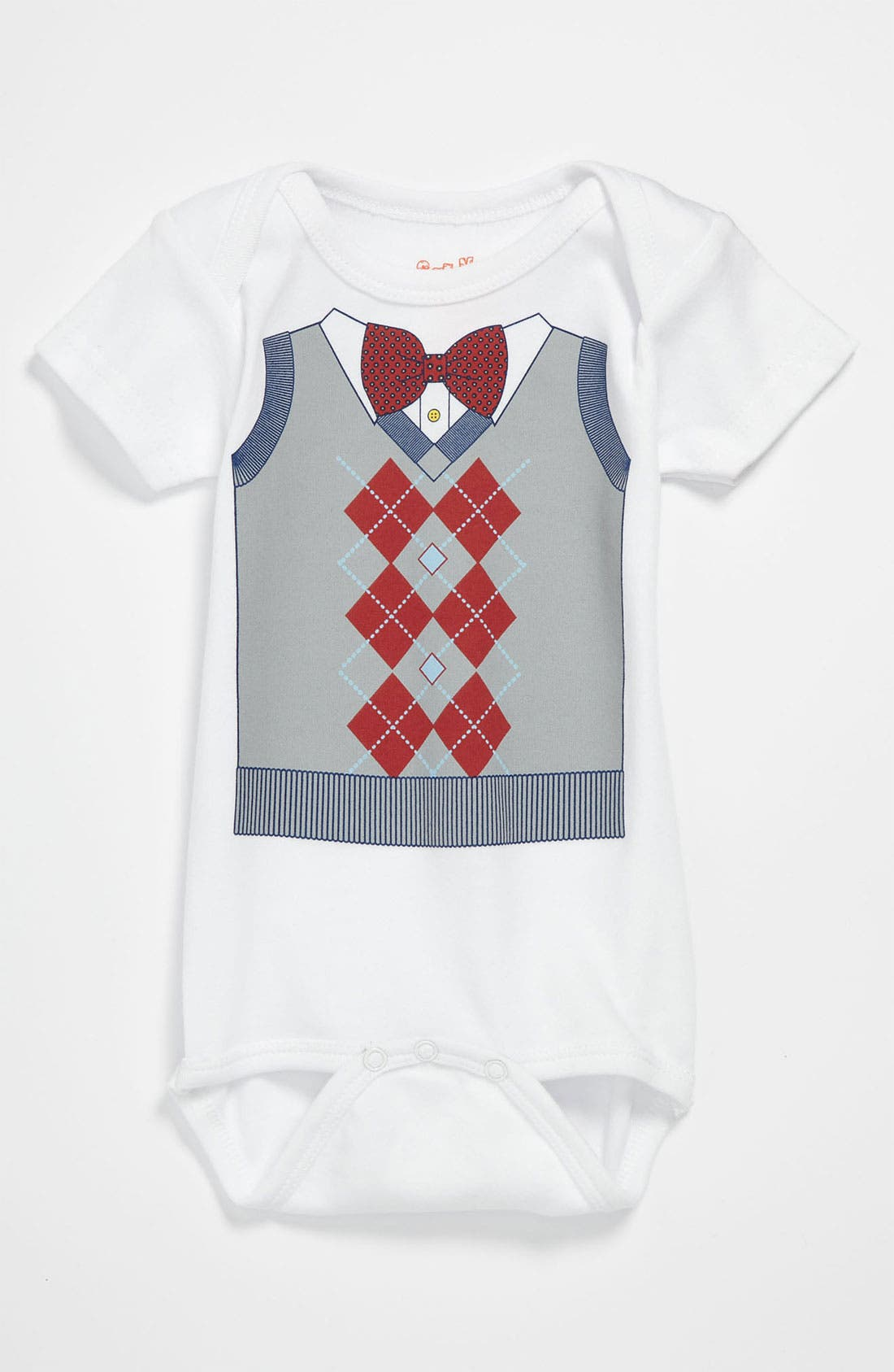Alternate Image 1 Selected - Sara Kety Baby & Kids 'Argyle Vest' Bodysuit (Baby)