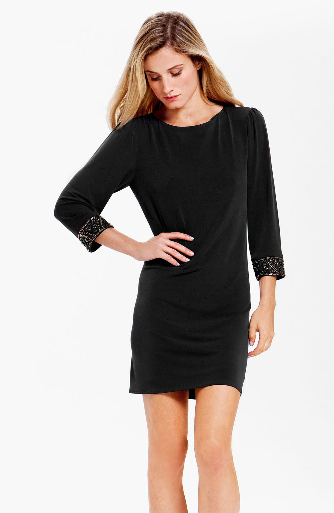 Alternate Image 1 Selected - Laundry by Shelli Segal Embellished Cuff Jersey Shift Dress