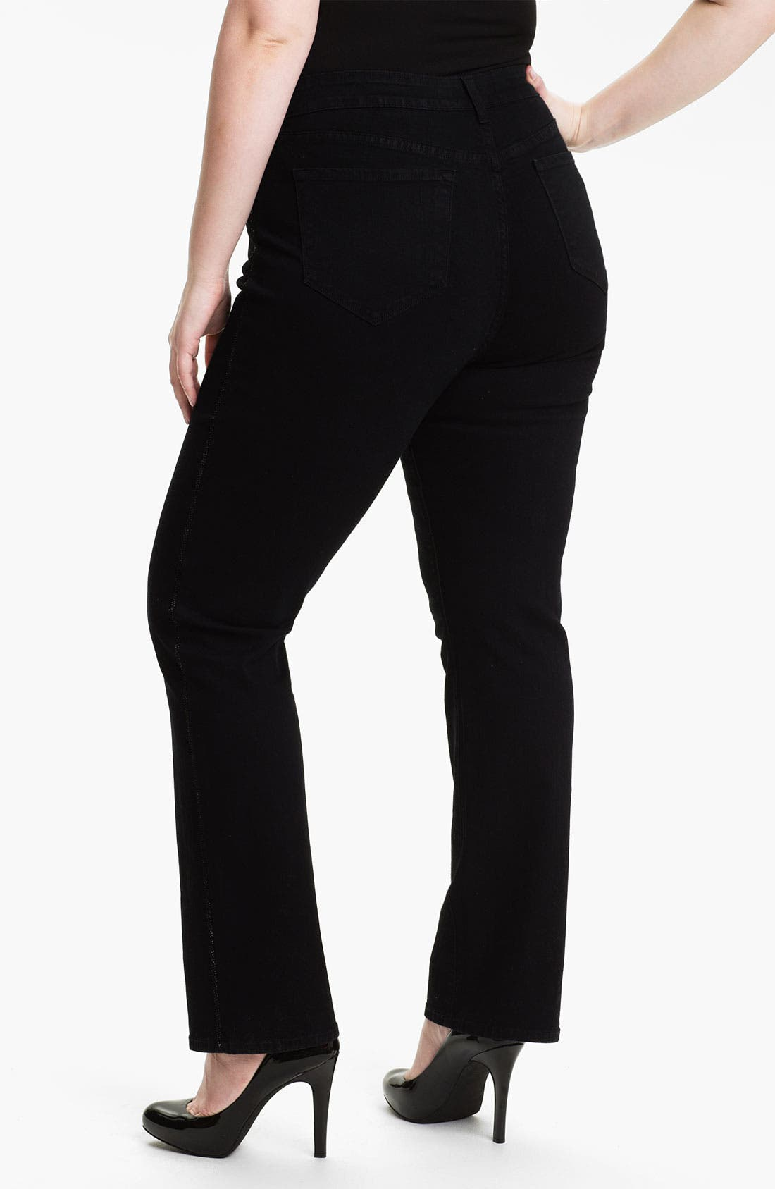 Alternate Image 2  - NYDJ 'Marilyn' Tuxedo Stripe Straight Leg Jeans (Plus)