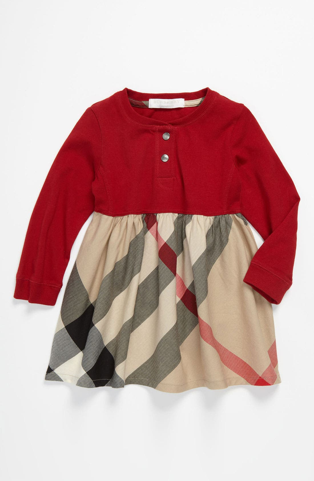 Main Image - Burberry Knit & Woven Dress (Toddler)