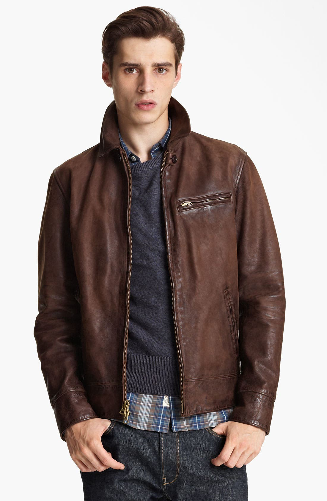 Alternate Image 1 Selected - Todd Snyder 'Dean' Leather Jacket