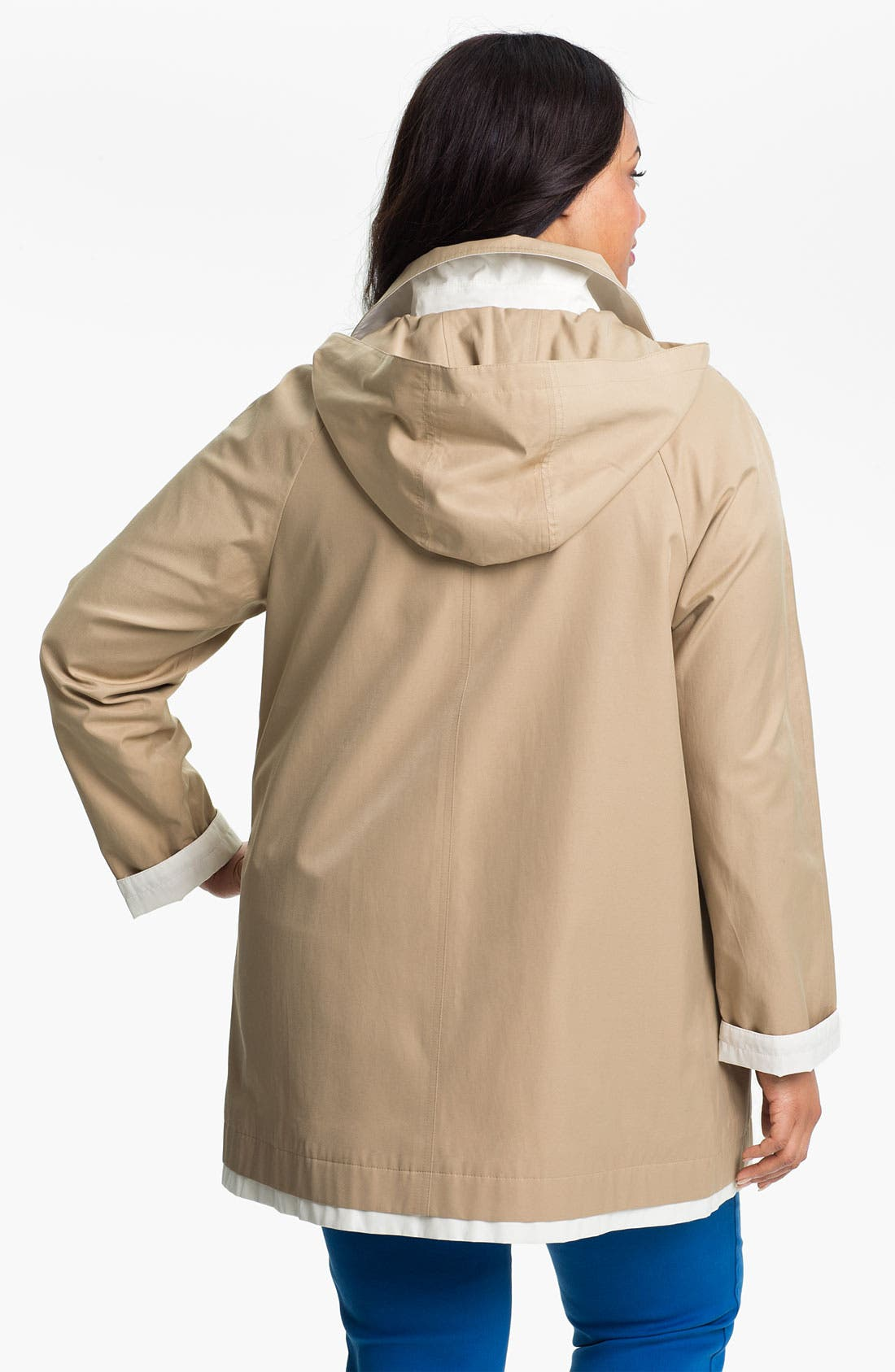Alternate Image 2  - Gallery Contrast Trim A-Line Coat (Plus Size)