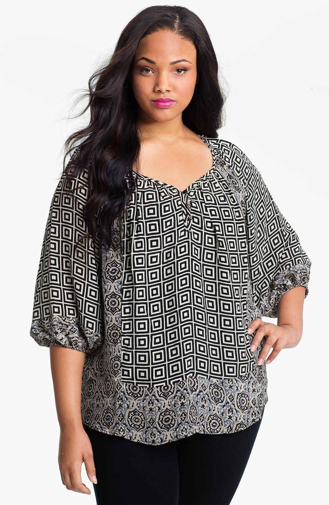 Alternate Image 1 Selected - Tolani 'Adele' Silk Tunic (Plus Size) (Online Only)