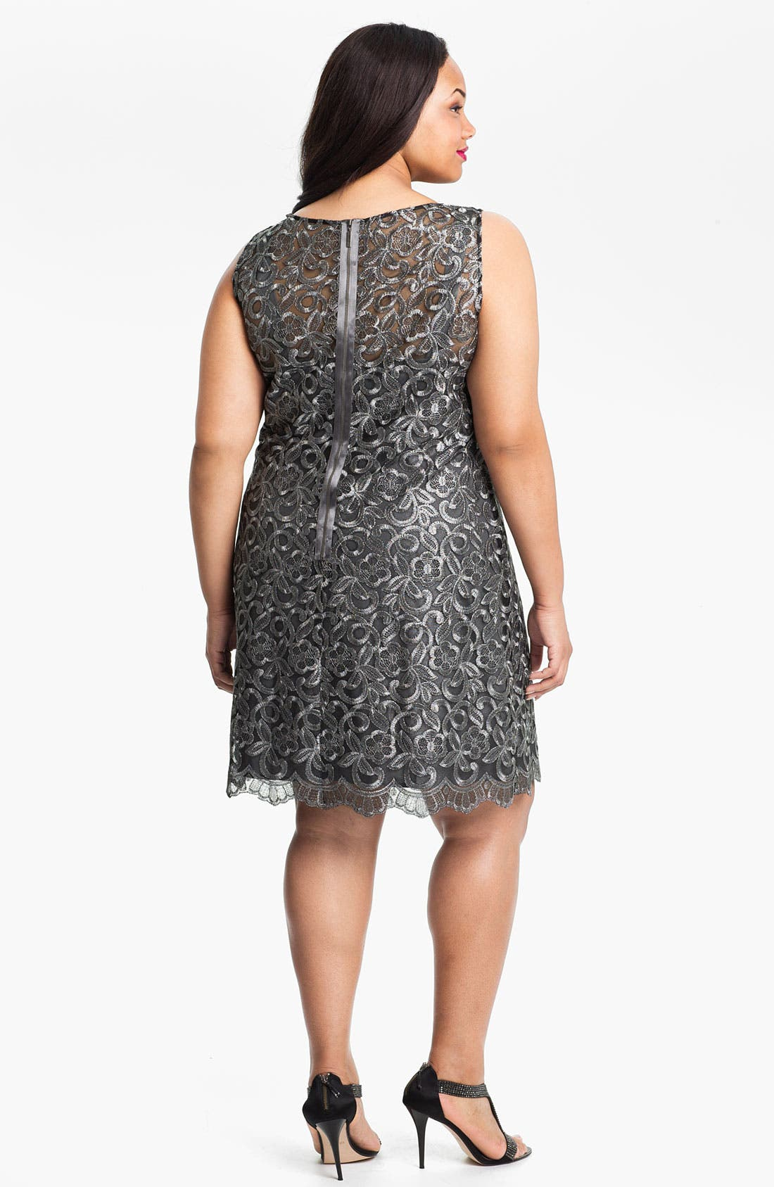 Alternate Image 2  - Donna Ricco Illusion Bodice Sleeveless Sheath Dress (Plus)