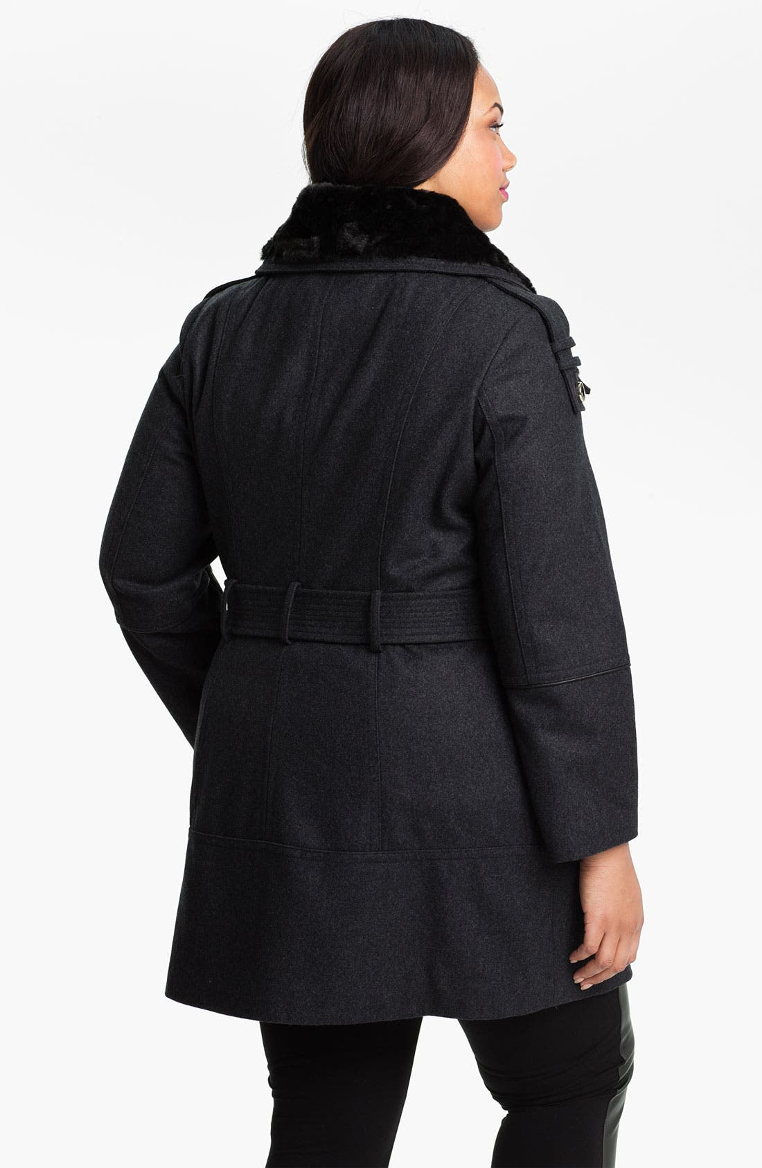 Alternate Image 2  - Miss Sixty Walking Coat with Faux Fur Collar (Plus) (Online Exclusive)