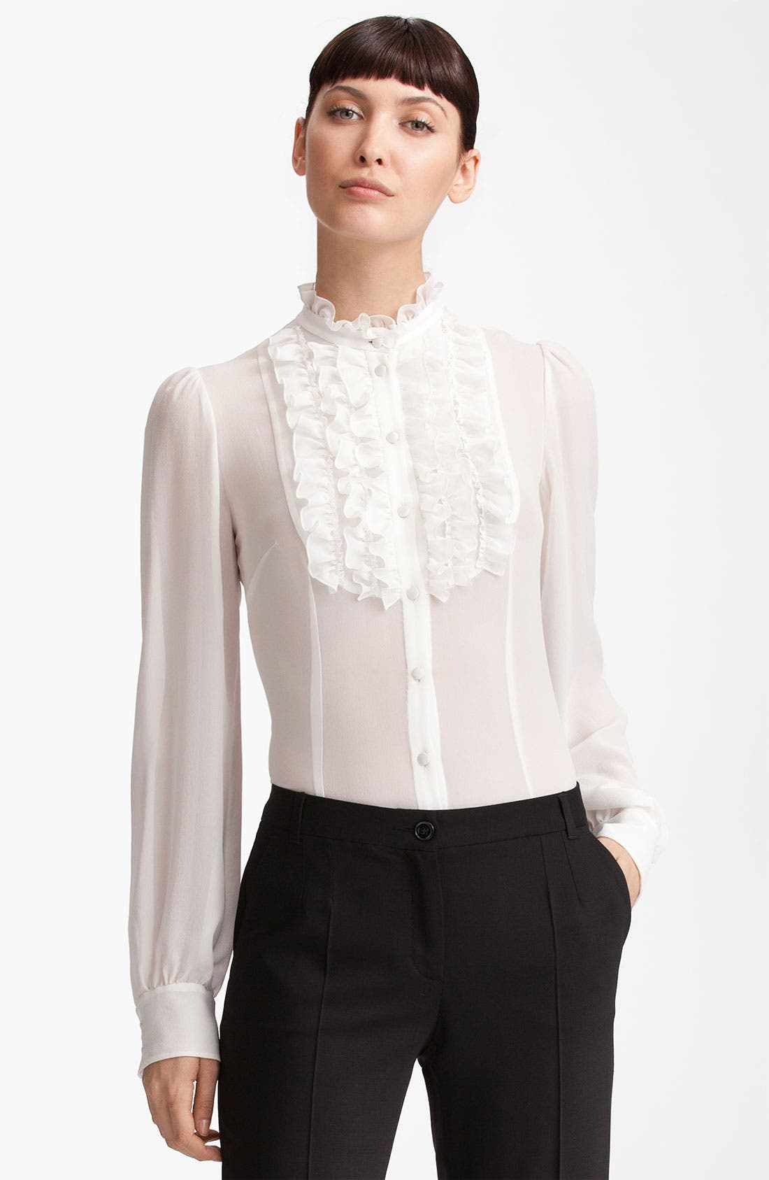 Alternate Image 1 Selected - Dolce&Gabbana Ruffle Front Georgette Blouse