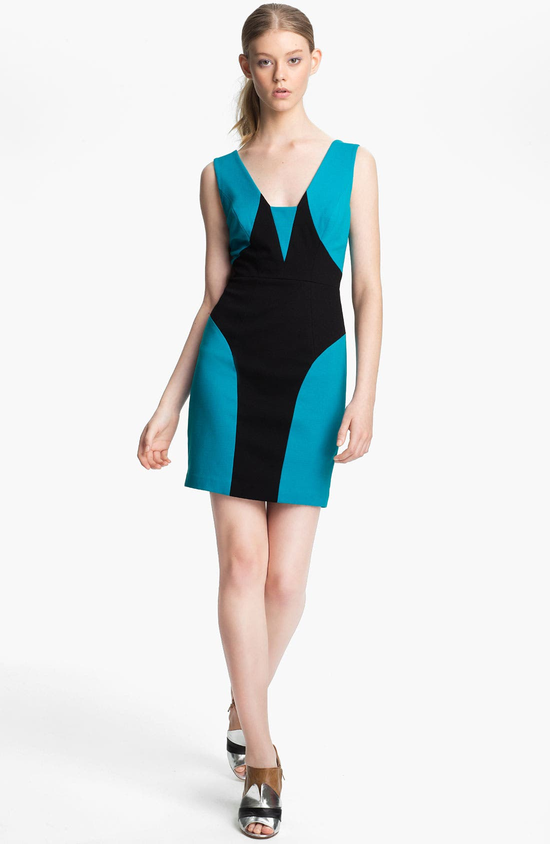 Alternate Image 1 Selected - Tracy Reese Colorblock Ponte Knit Shift Dress