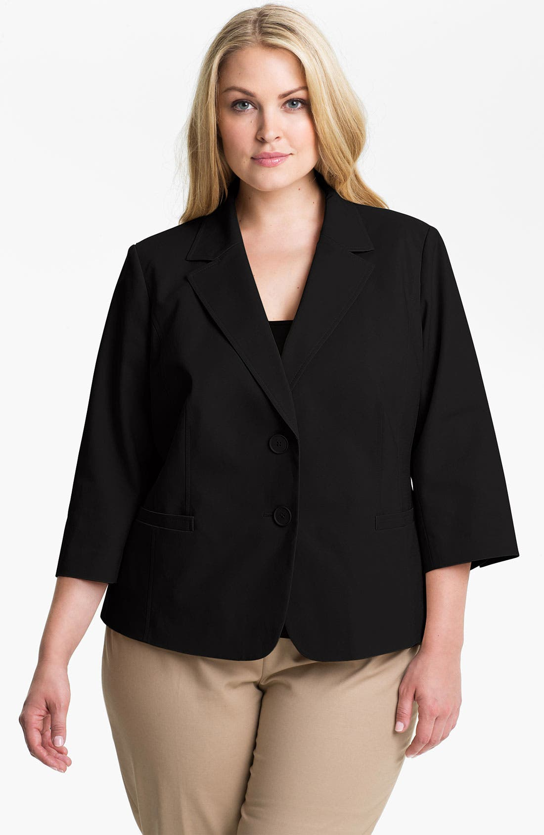 Main Image - Sejour Stretch Cotton Jacket (Plus Size)