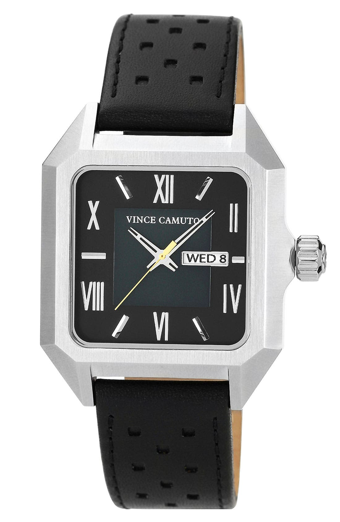 Main Image - Vince Camuto Square Dial Leather Strap Watch, 39mm