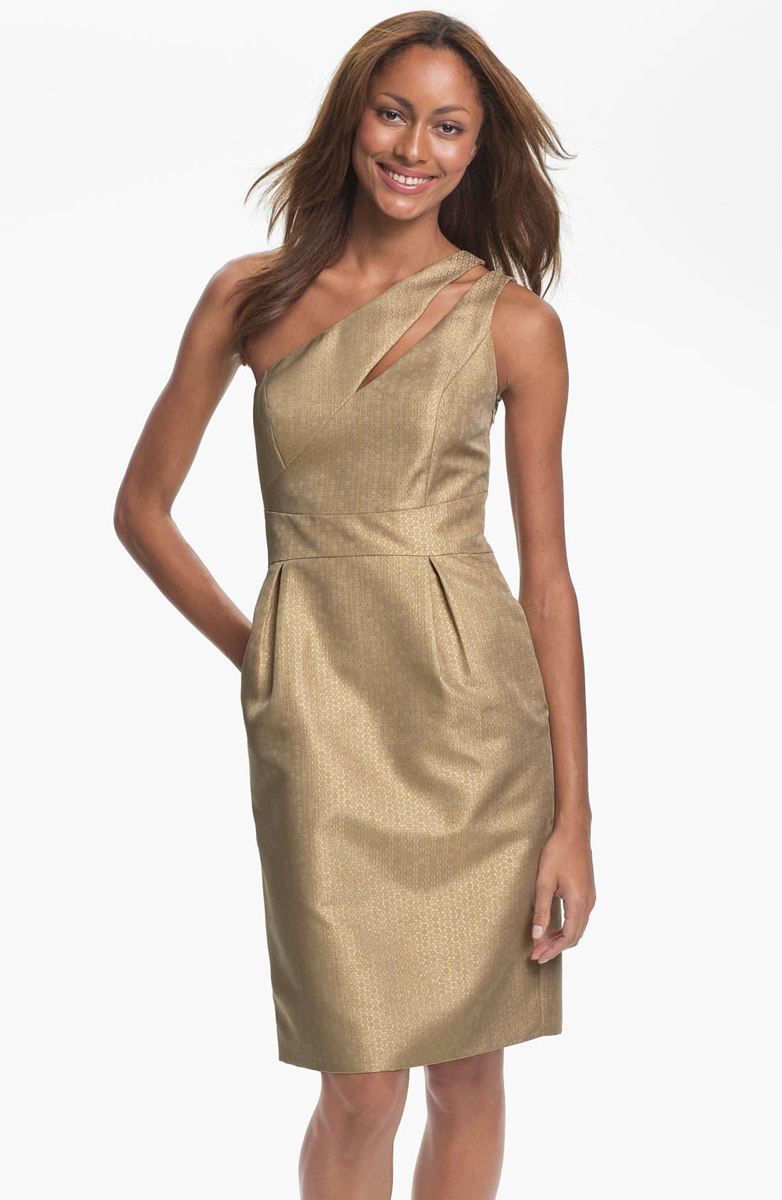 Main Image - ML Monique Lhuillier Bridesmaids One Shoulder Metallic Woven Sheath Dress (Nordstrom Exclusive)