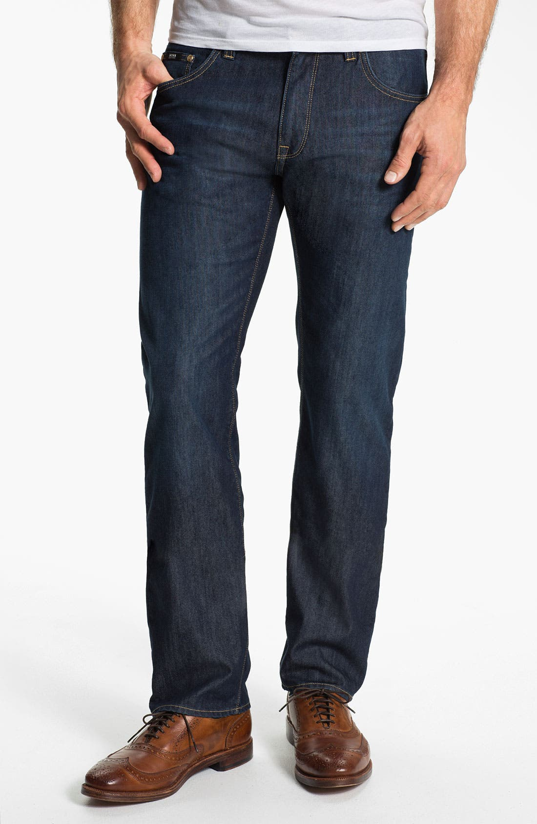 Alternate Image 1 Selected - BOSS Black 'Maine' Straight Leg Jeans (Blue Flannel)