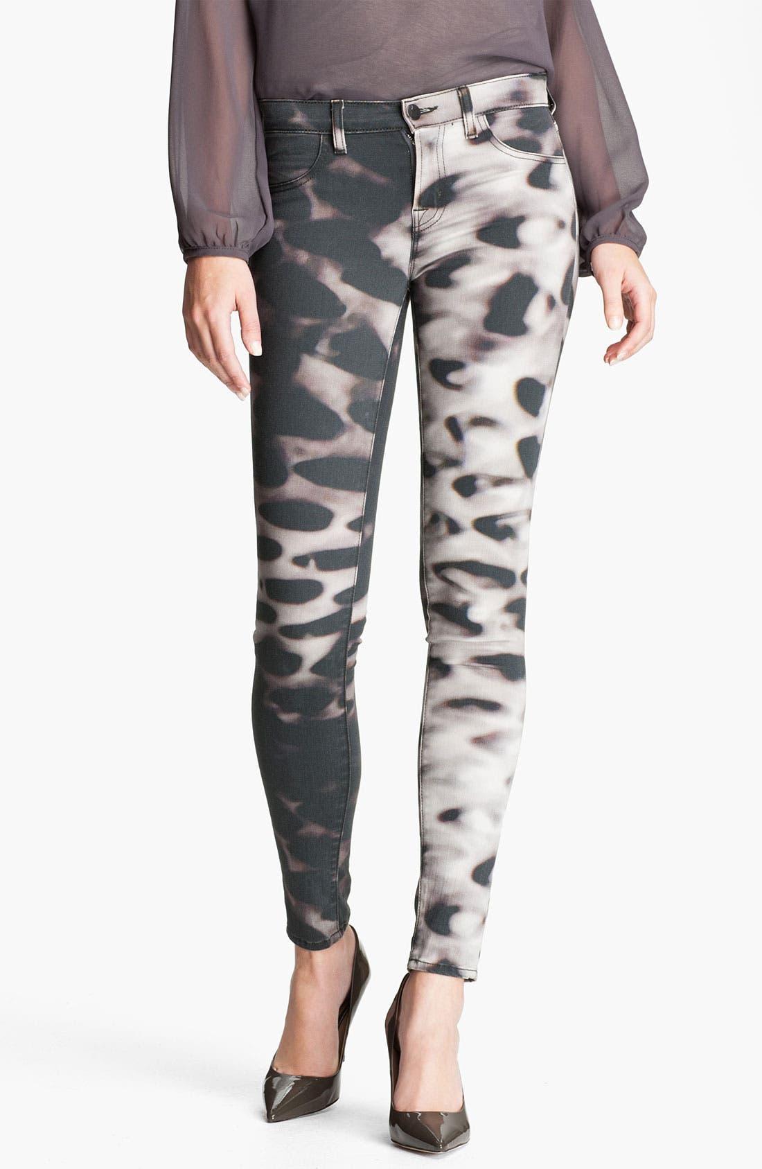 Main Image - J Brand Print Skinny Leg Jeans (Glacier)