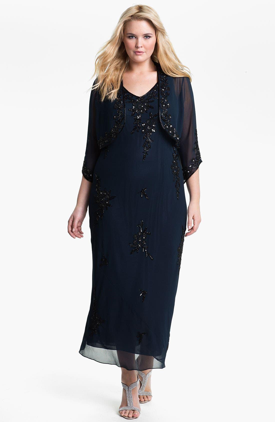 Alternate Image 1 Selected - J Kara Beaded Chiffon Dress & Jacket
