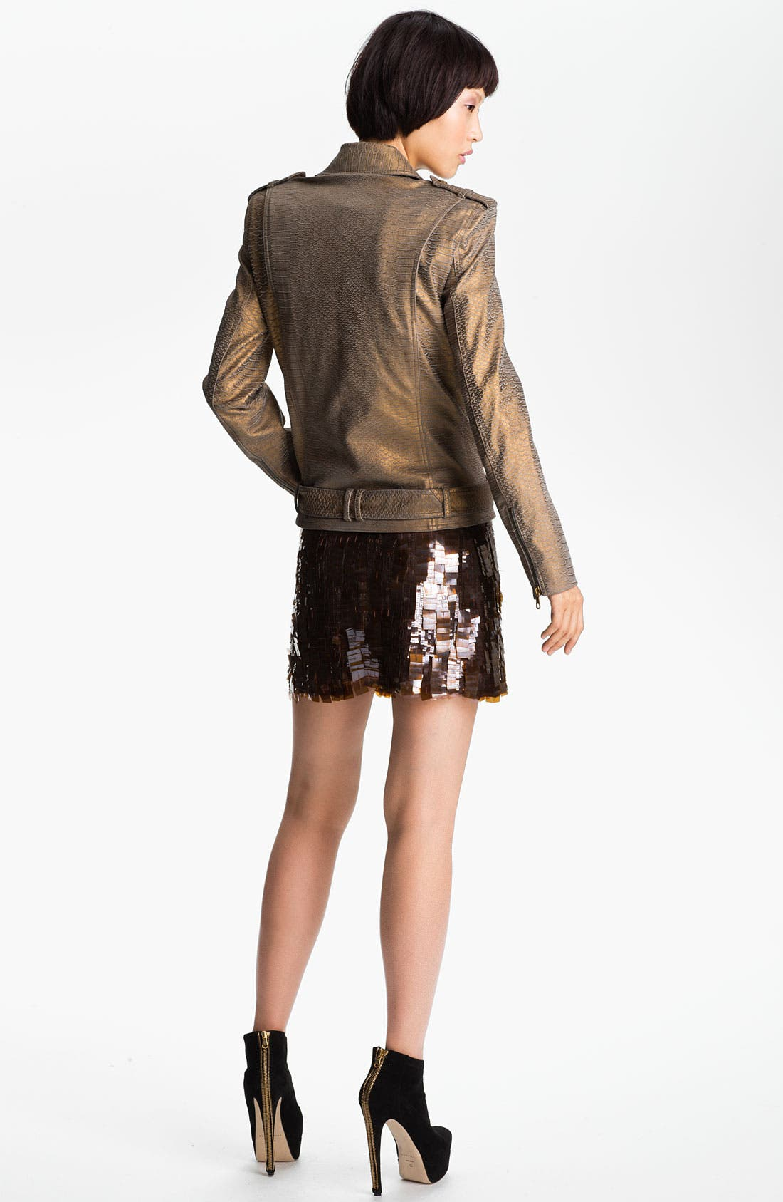 Alternate Image 2  - Skaist-Taylor Belted Stretch Leather Moto Jacket