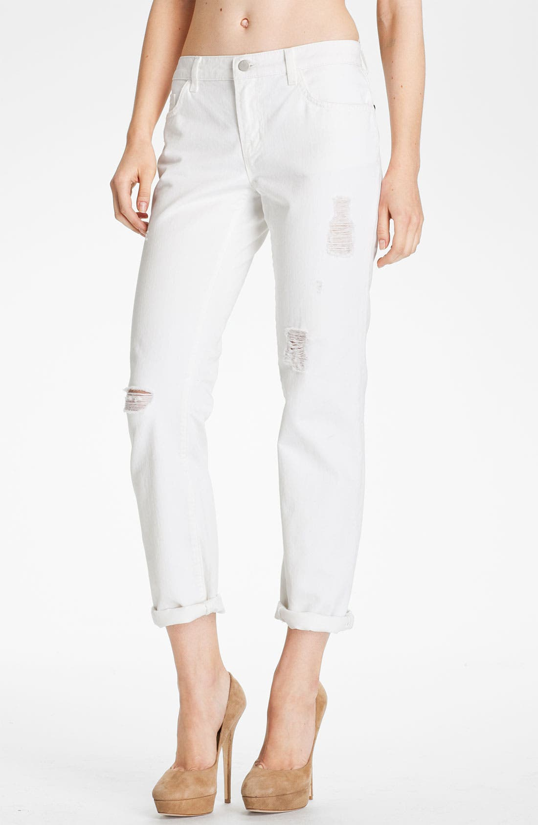 Main Image - J Brand 'Aidan' Distressed Boyfriend Fit Jeans (White Destructed)